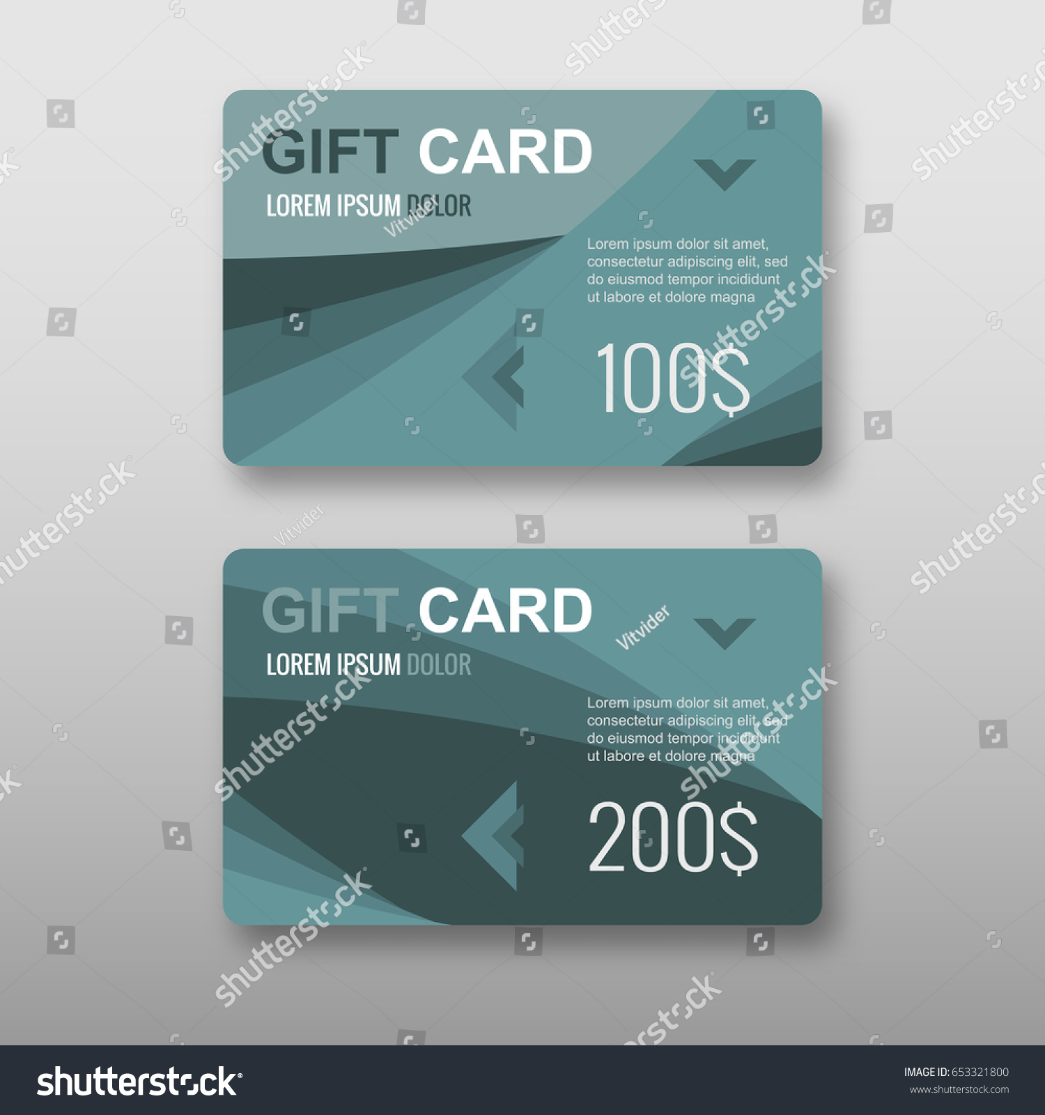 Set Gift Discount Cards Layout Templates Stock Vector 653321800 ...
