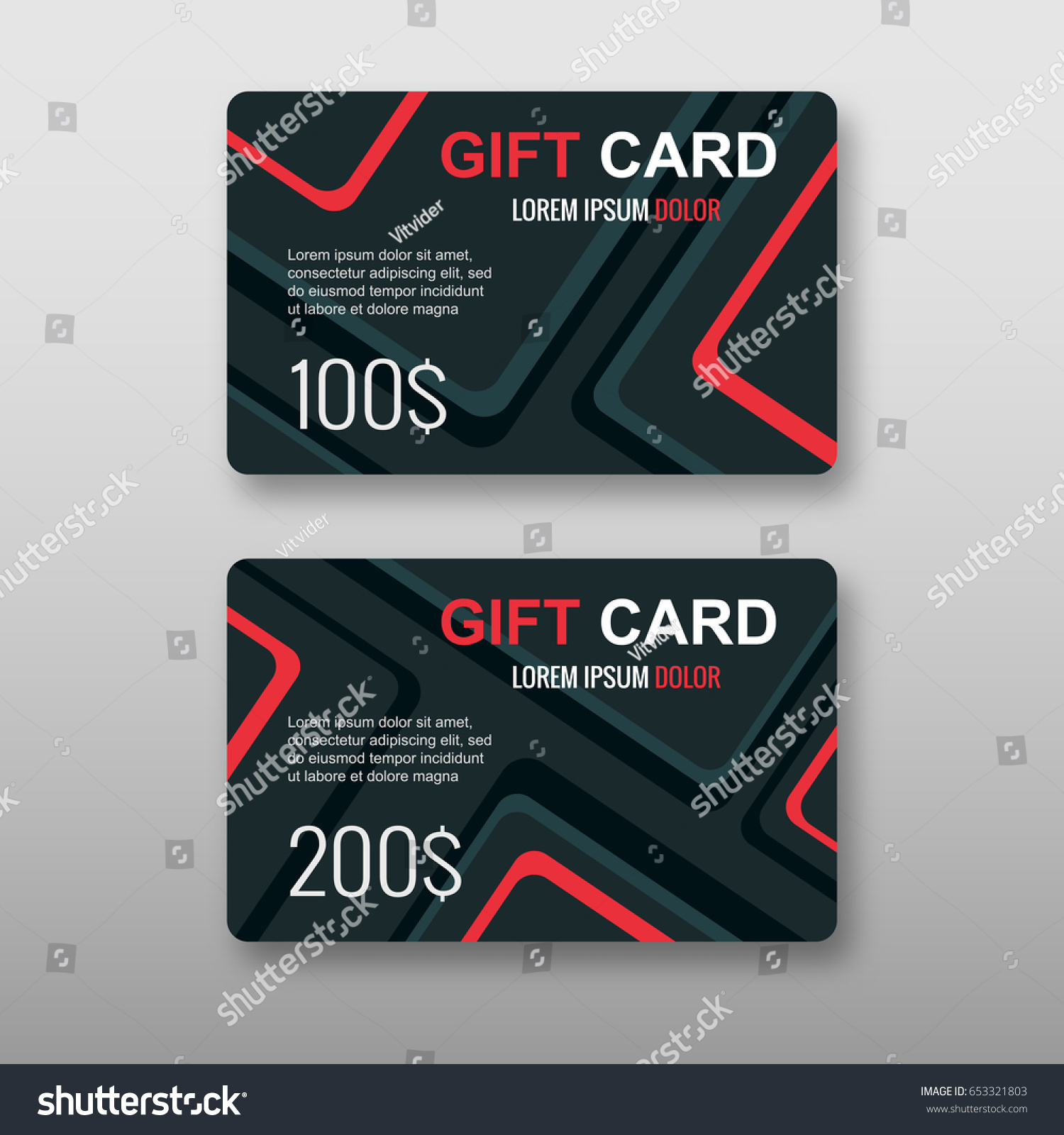 Set Gift Discount Cards Layout Templates Stock Vector HD (Royalty ...