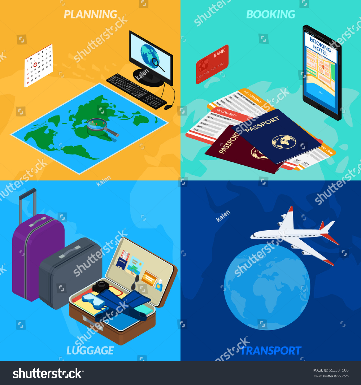 Illustration travel infographic world map magnifying stock world map magnifying glass computer luggage a gumiabroncs Images