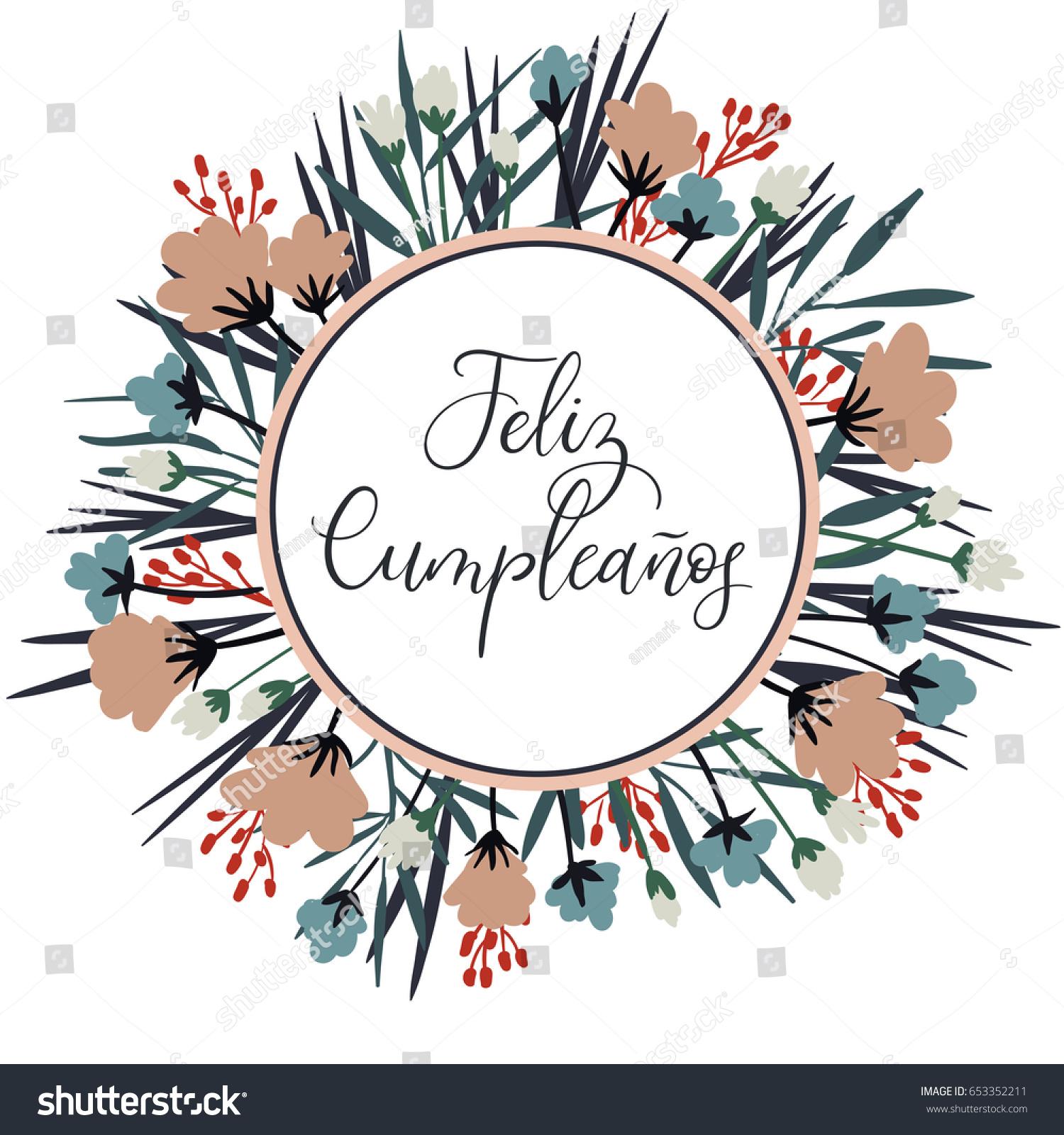 Feliz Cumpleanos Happy Birthday Spanish Calligraphy Stock Vector
