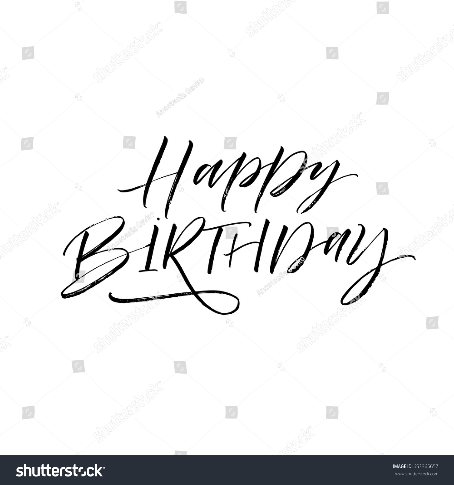 Happy birthday card ink illustration modern stock vector