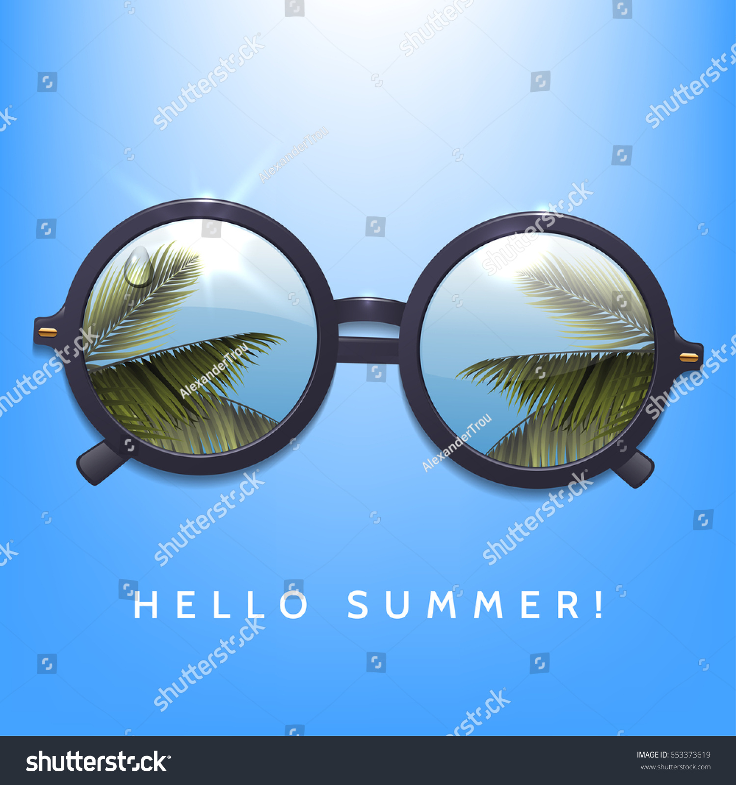 Hello Summer Illustration. Palms Reflection In Round Sunglasses. Blue Sky  Background.Flecks Of