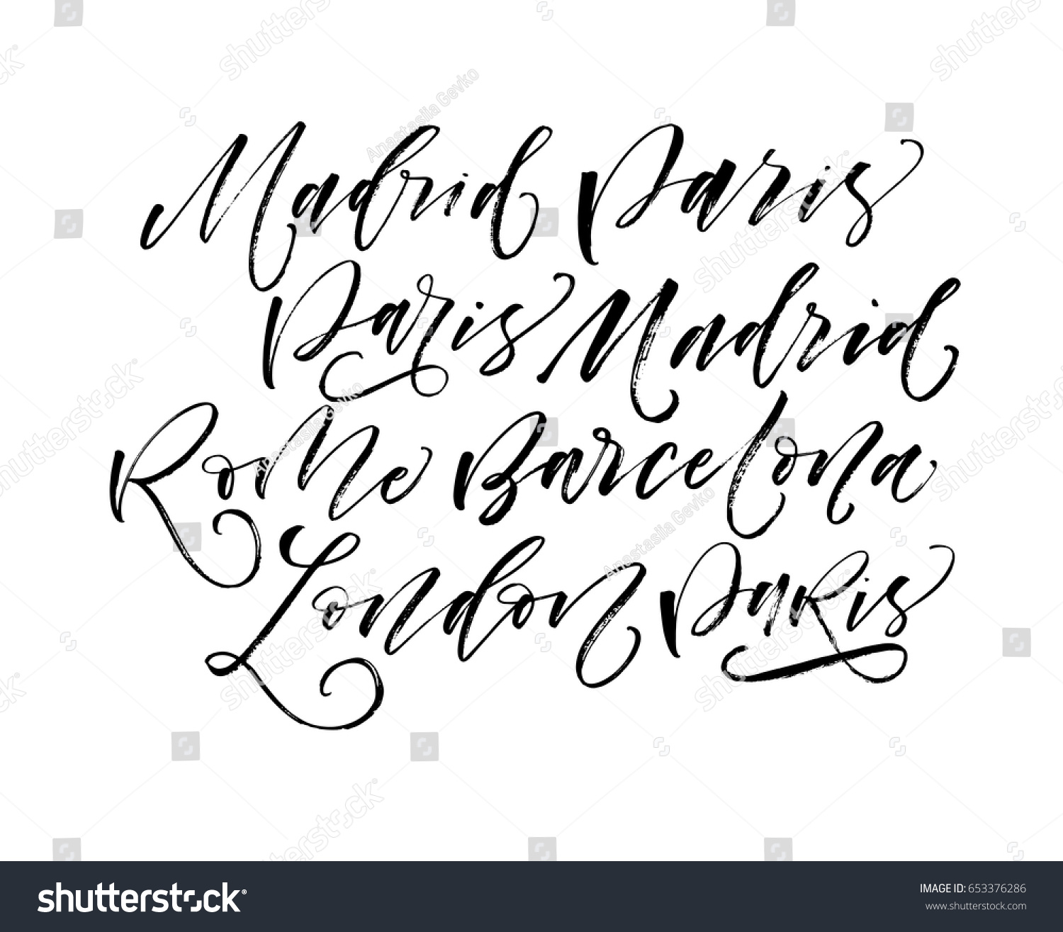 Different City Names Madrid Paris Barcelona Stock Vector 653376286