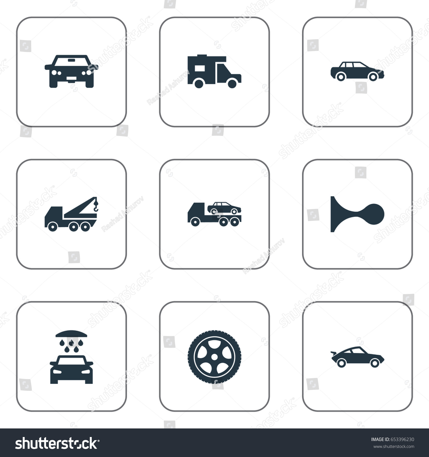 Vector Illustration Set Simple Auto Icons Stock Vector 653396230 ...