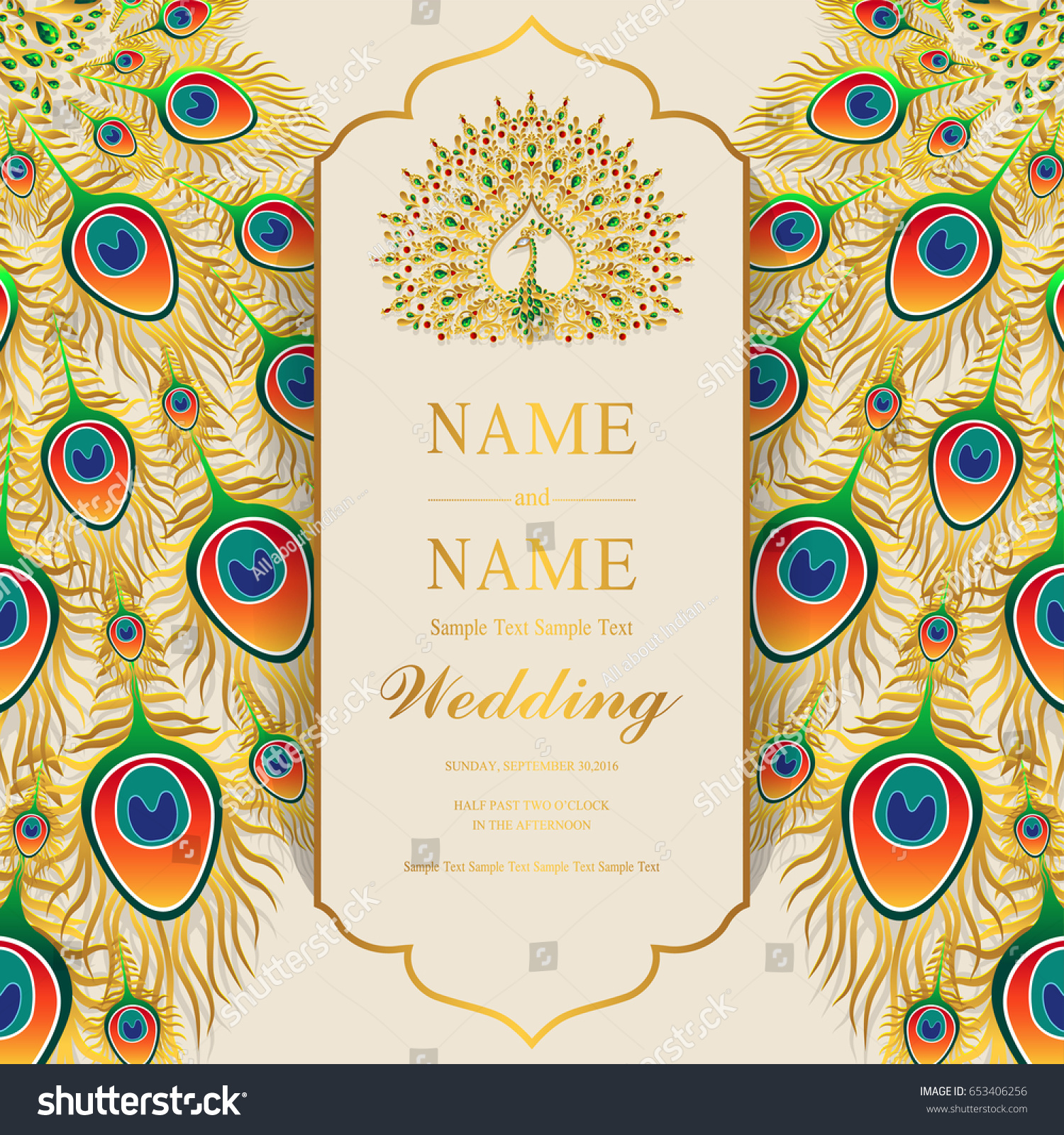 wedding invitation card templates with gold peacock feathers patterned and crystals on paper color