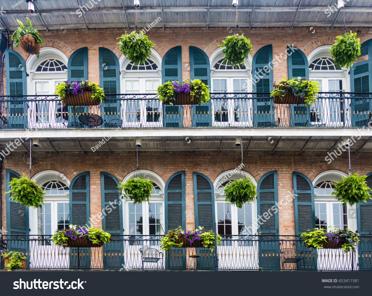 A colorful balcony in the French Quarter of New Orleans, Louisiana