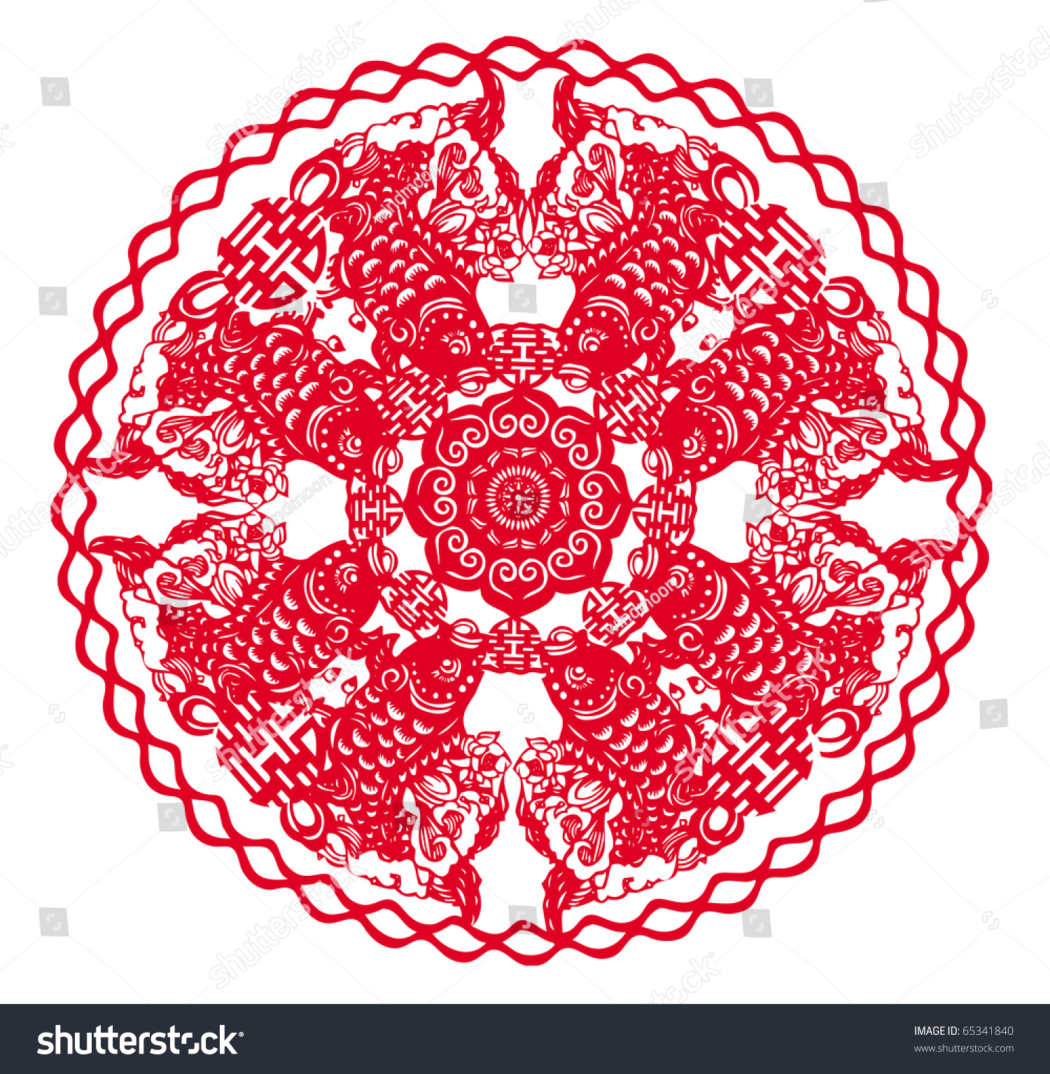 Chinese Paper Cutting Fish Patterns Stock Illustration 65341840 ...