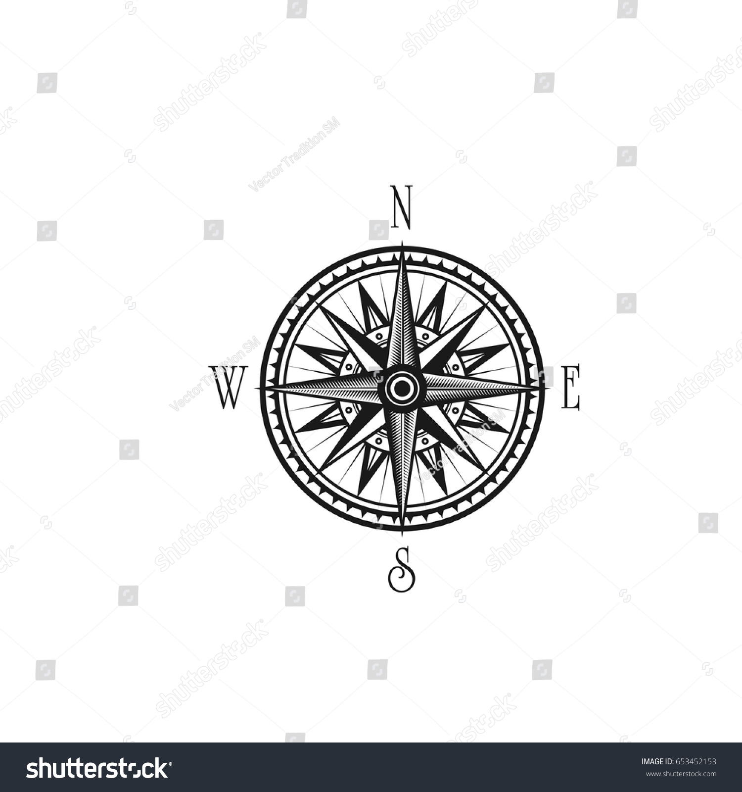 Mariner Sailor Compass Wind Rose Direction Stock Vector Royalty