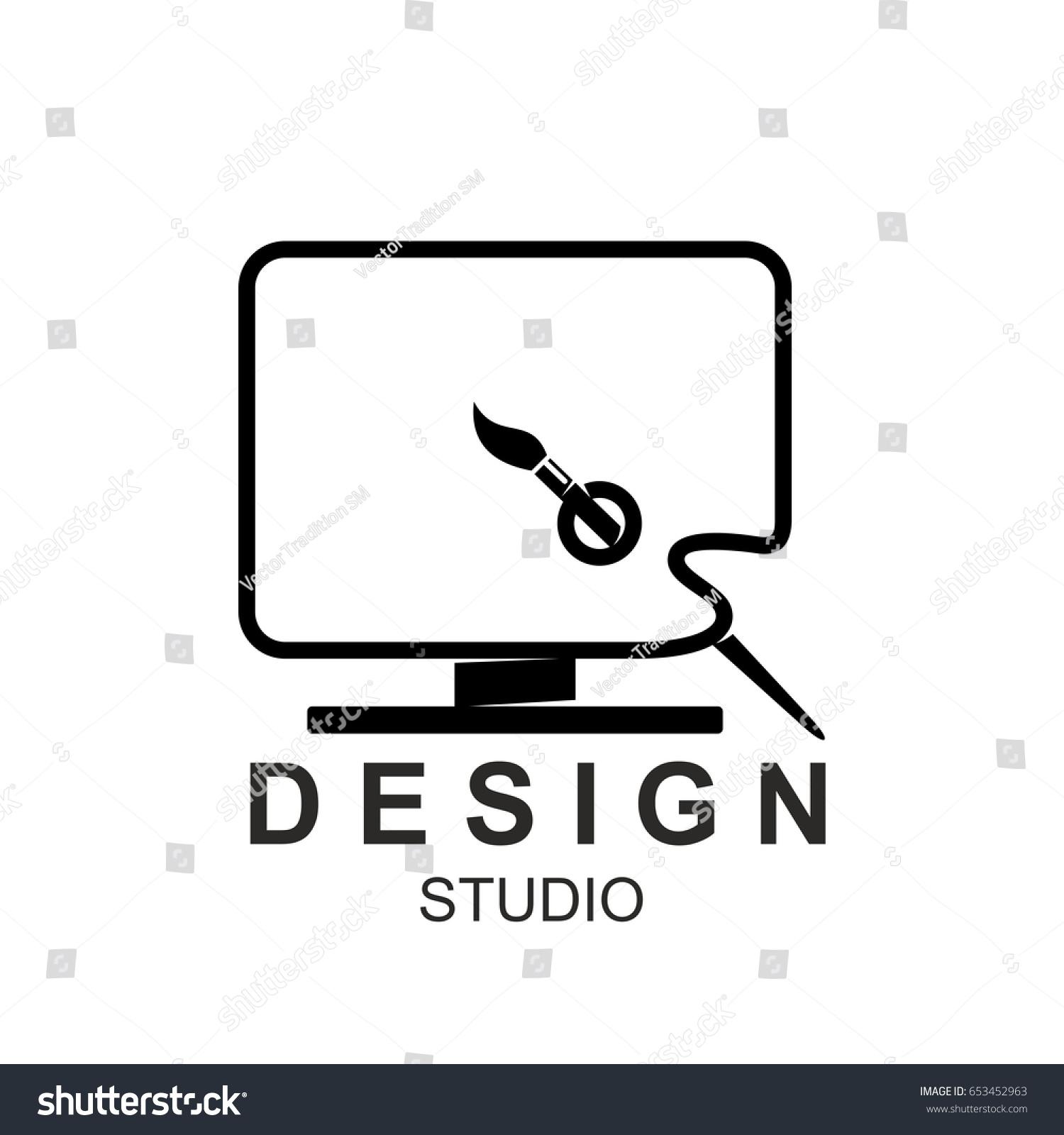 design studio icon template computer monitor stock vector royalty