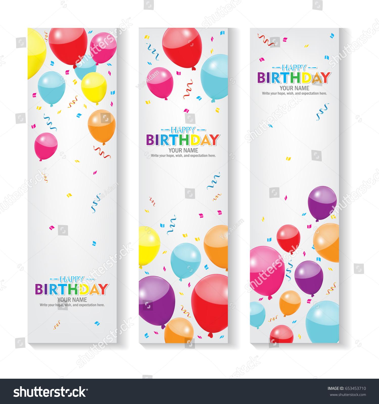 Editable Vertical Happy Birthday Banner Balloon เวกเตอร์สต็