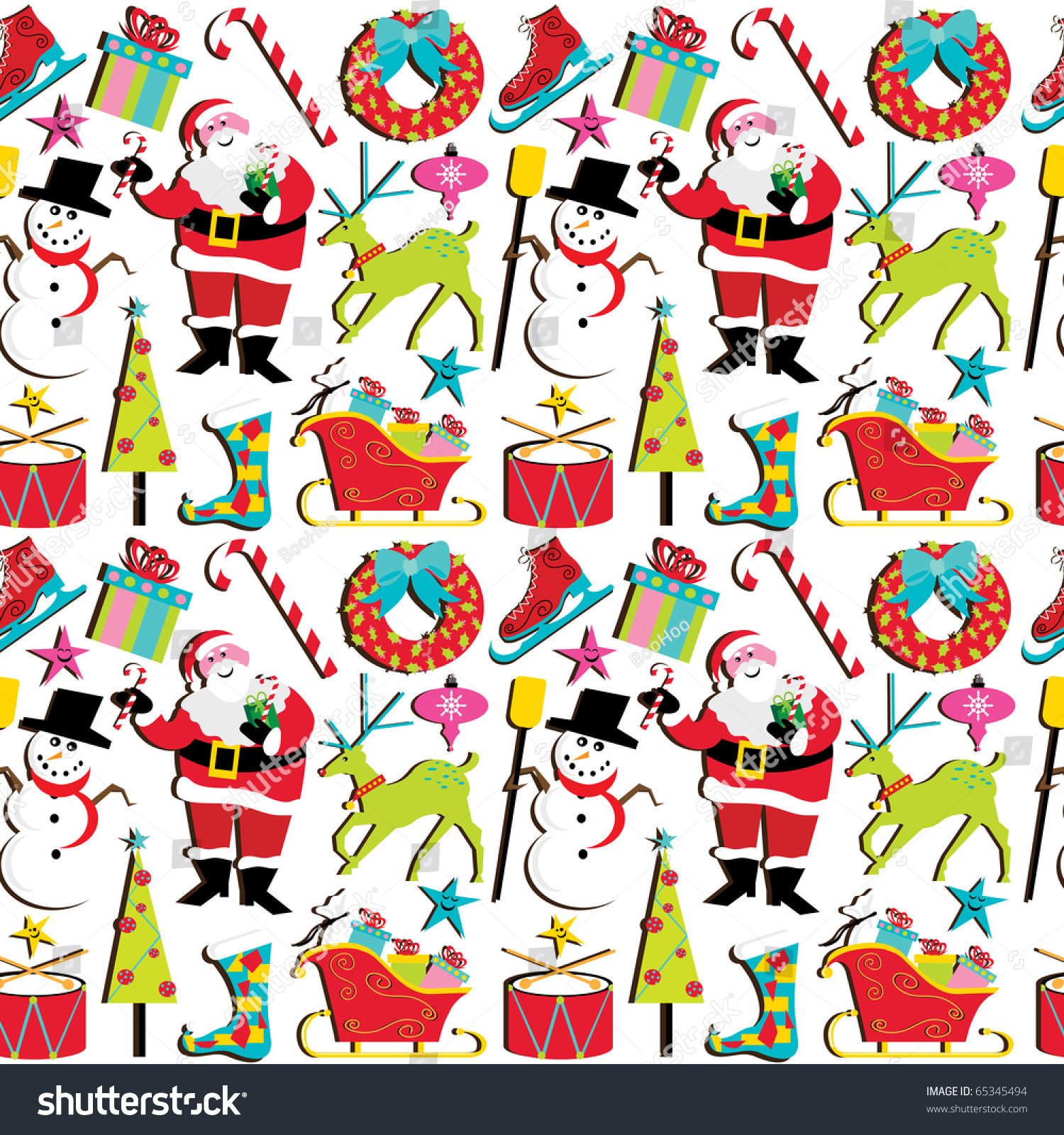 Cute Retro Inspired Christmas Clipart Wallpaper, Isolated