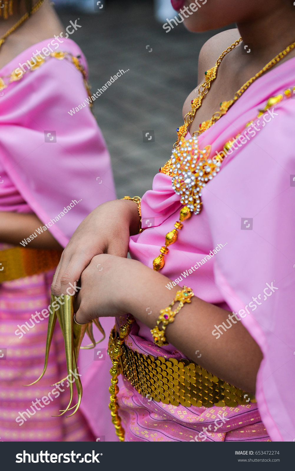 Fake Nails Child Traditional Thai Dance Stock Photo (Download Now ...