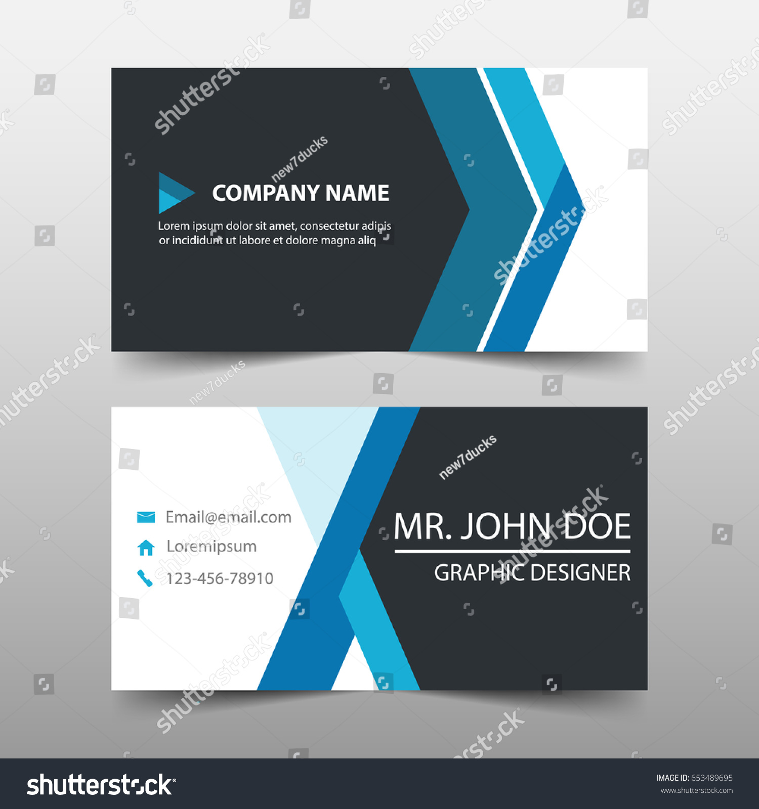 Blue Corporate Business Card Name Card Stock Vector