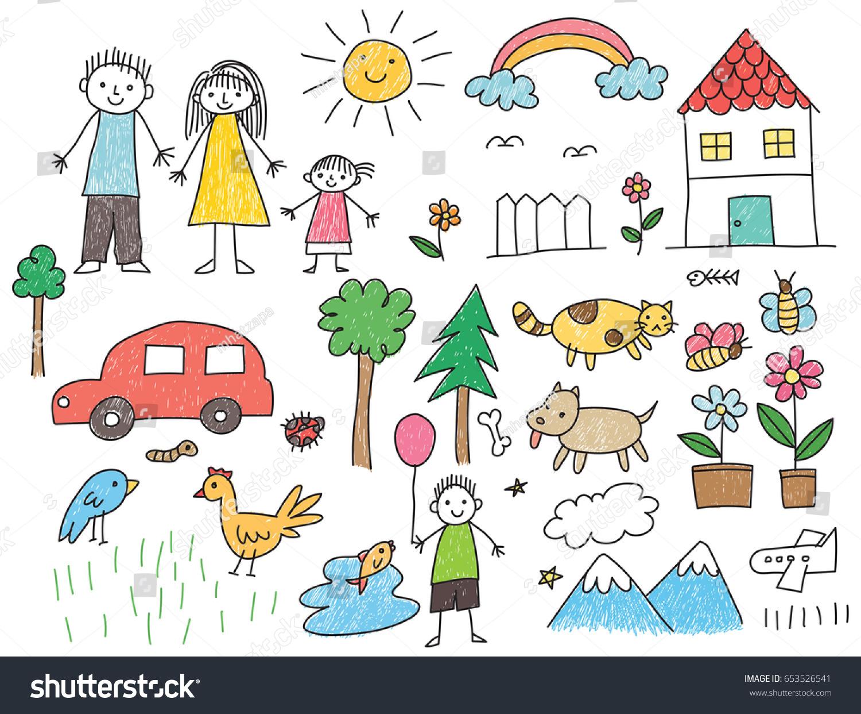 Kid Drawing Family Car Animal House Stock Vector 653526541