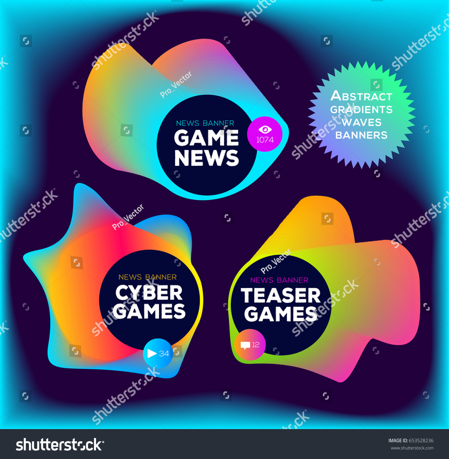 Colorful Abstract Gradient Banners Games Music Stock Vector ...
