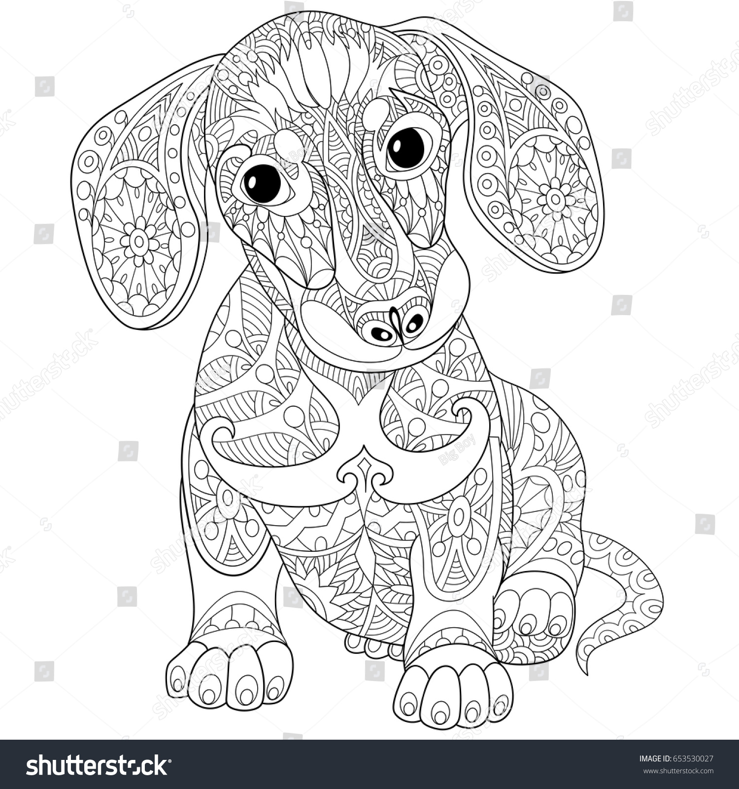coloring page dachshund puppy dog symbol stock vector 653530027