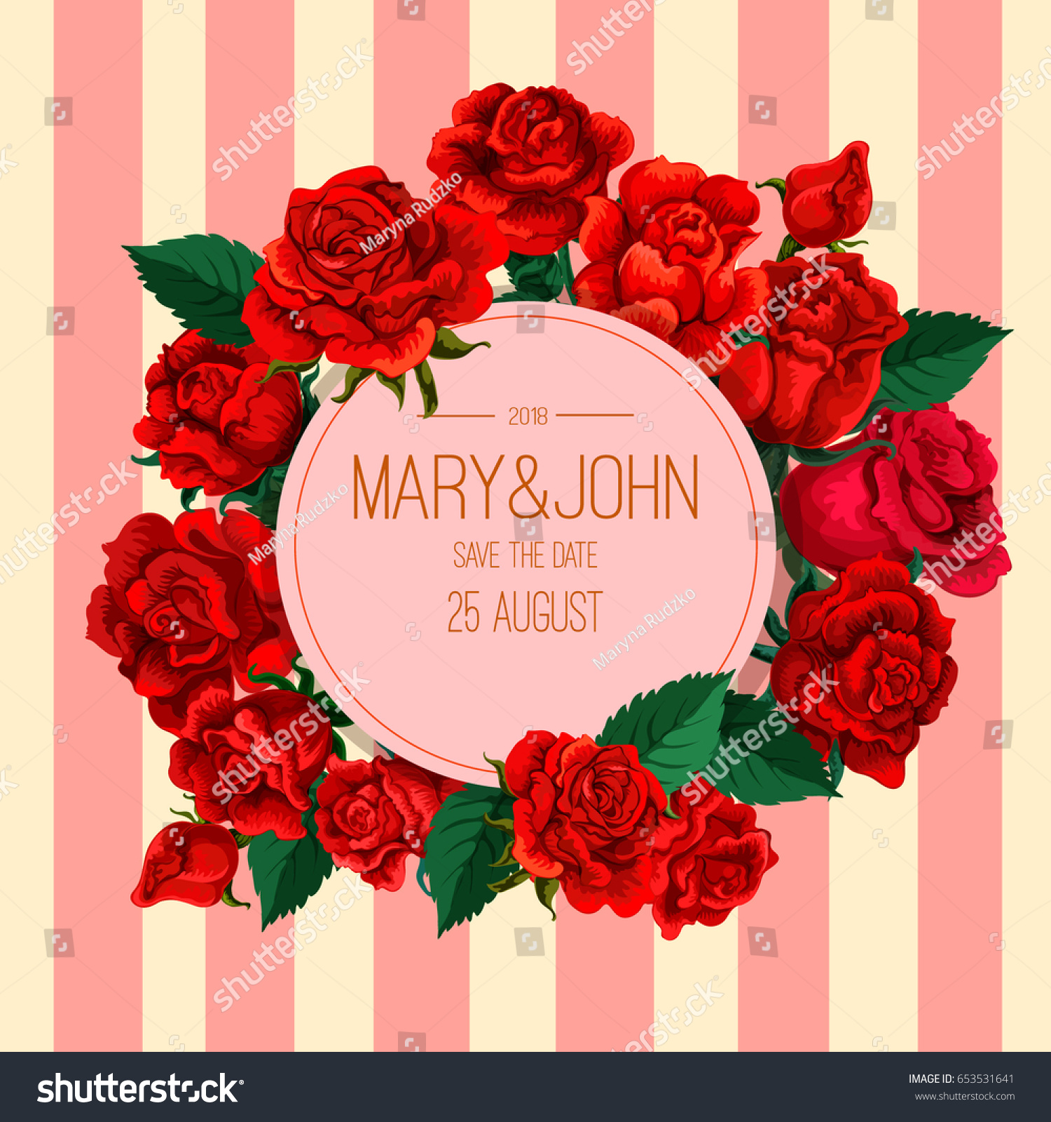 Vector Red Rose Decorative Composition Invitation Stock Vector ...
