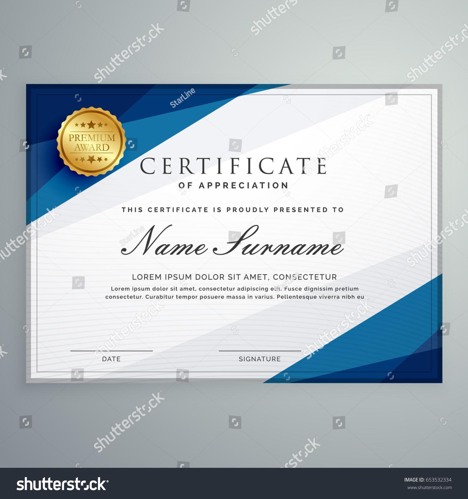 Elegant White Blue Certificate Diploma Template Stock Vector ...