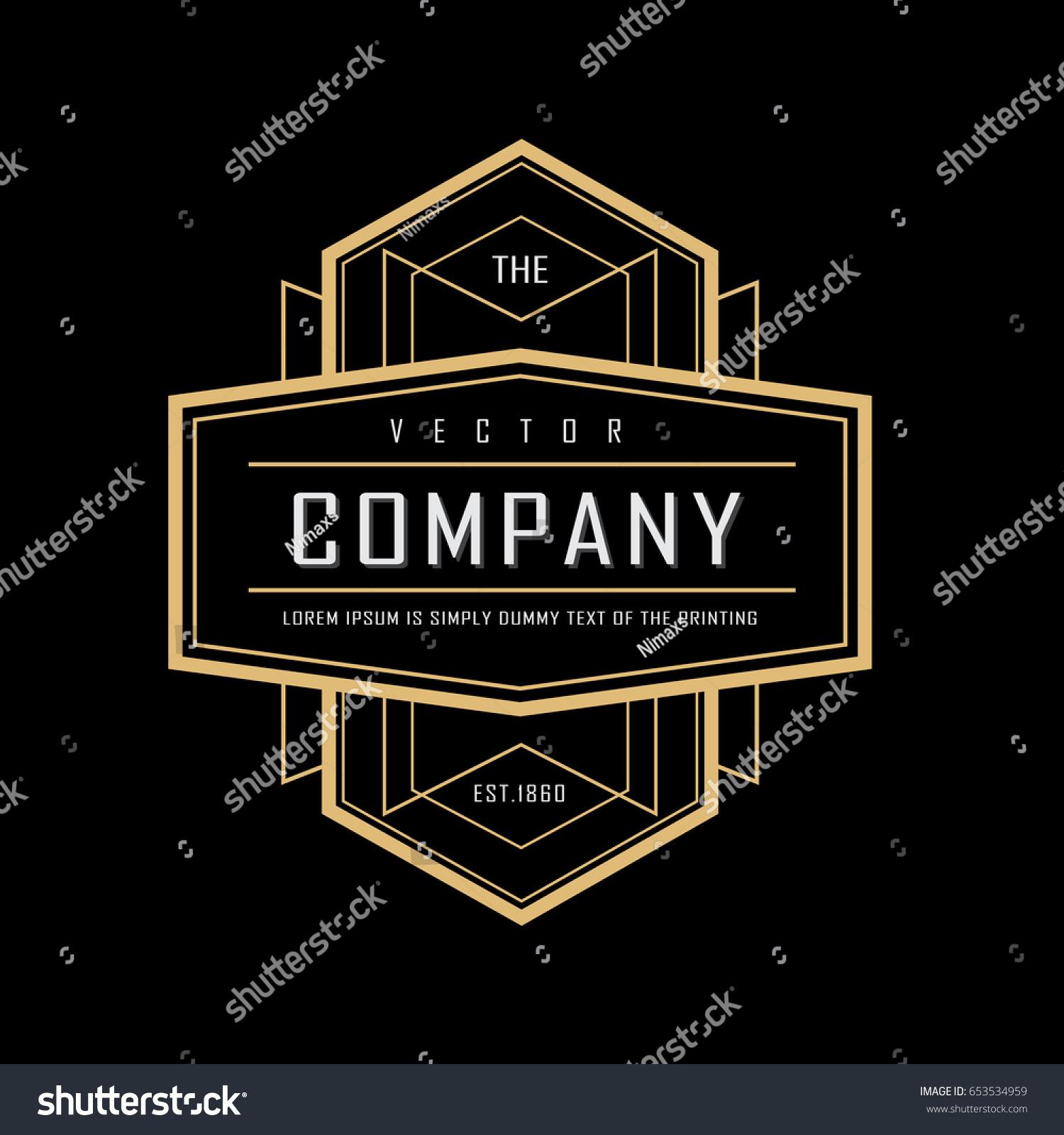art deco vintage badge logo design stock vector 653534959. Black Bedroom Furniture Sets. Home Design Ideas