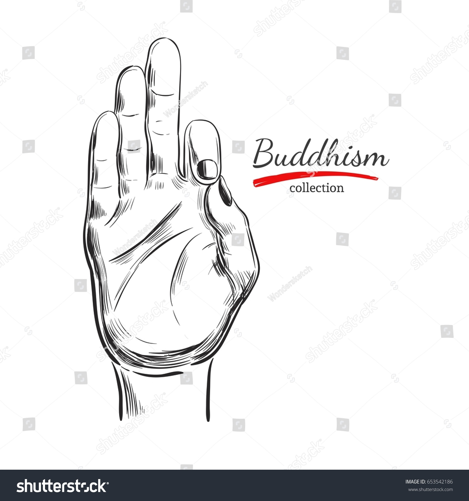 Jnana Mudra Buddhism SpiritualityYoga Print Vector Hand Drawn Illustration Sketch
