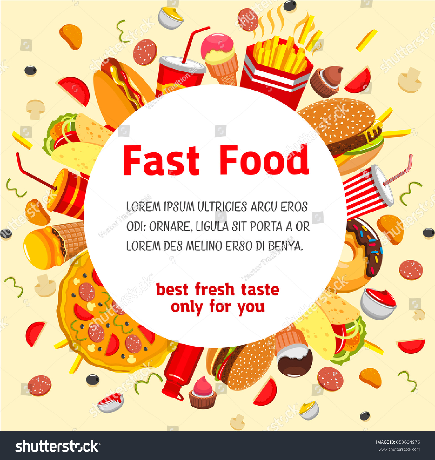 Fast Food Poster Menu Cover Template Stock Vector Royalty Free