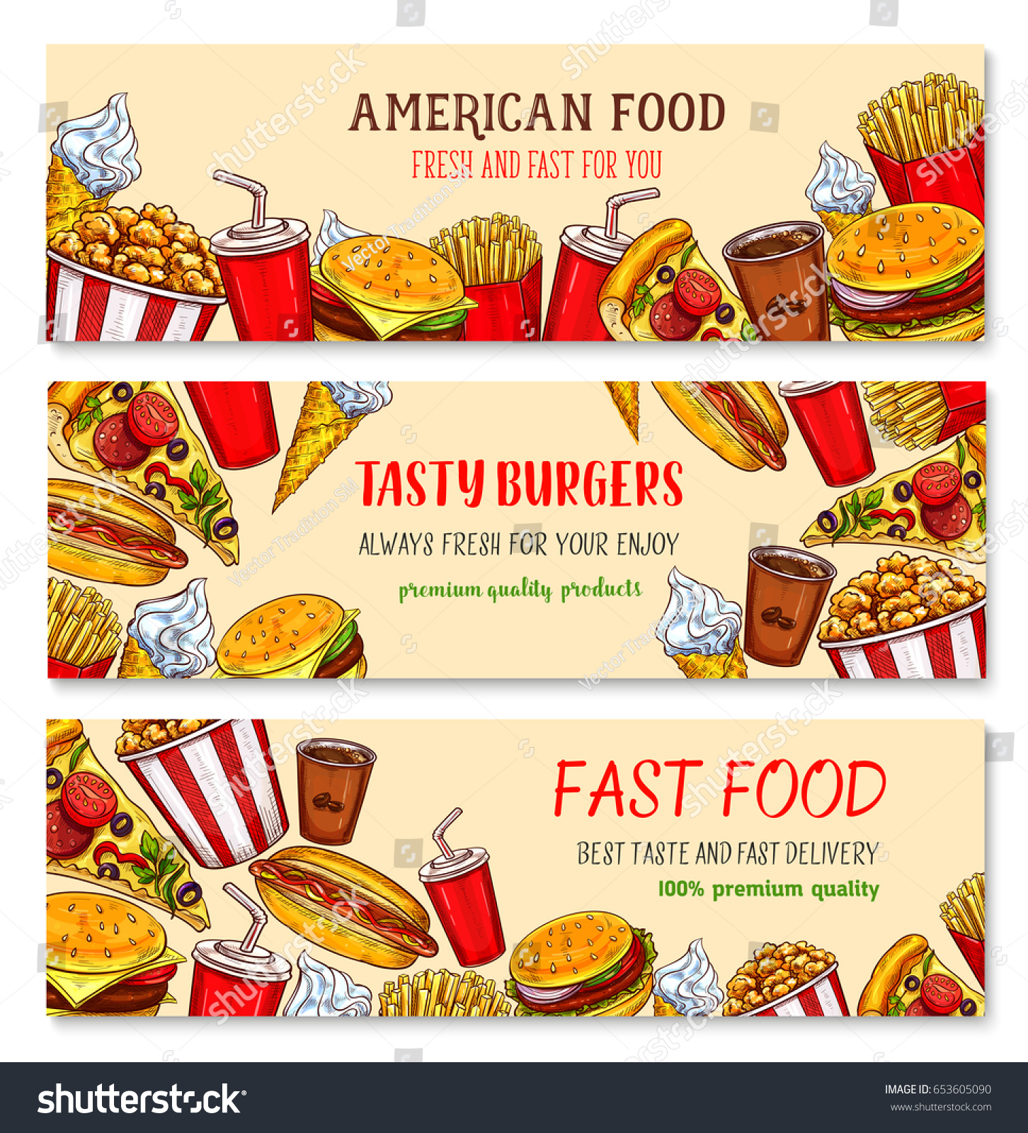 Fast food restaurant and pizzeria poster template Fastfood