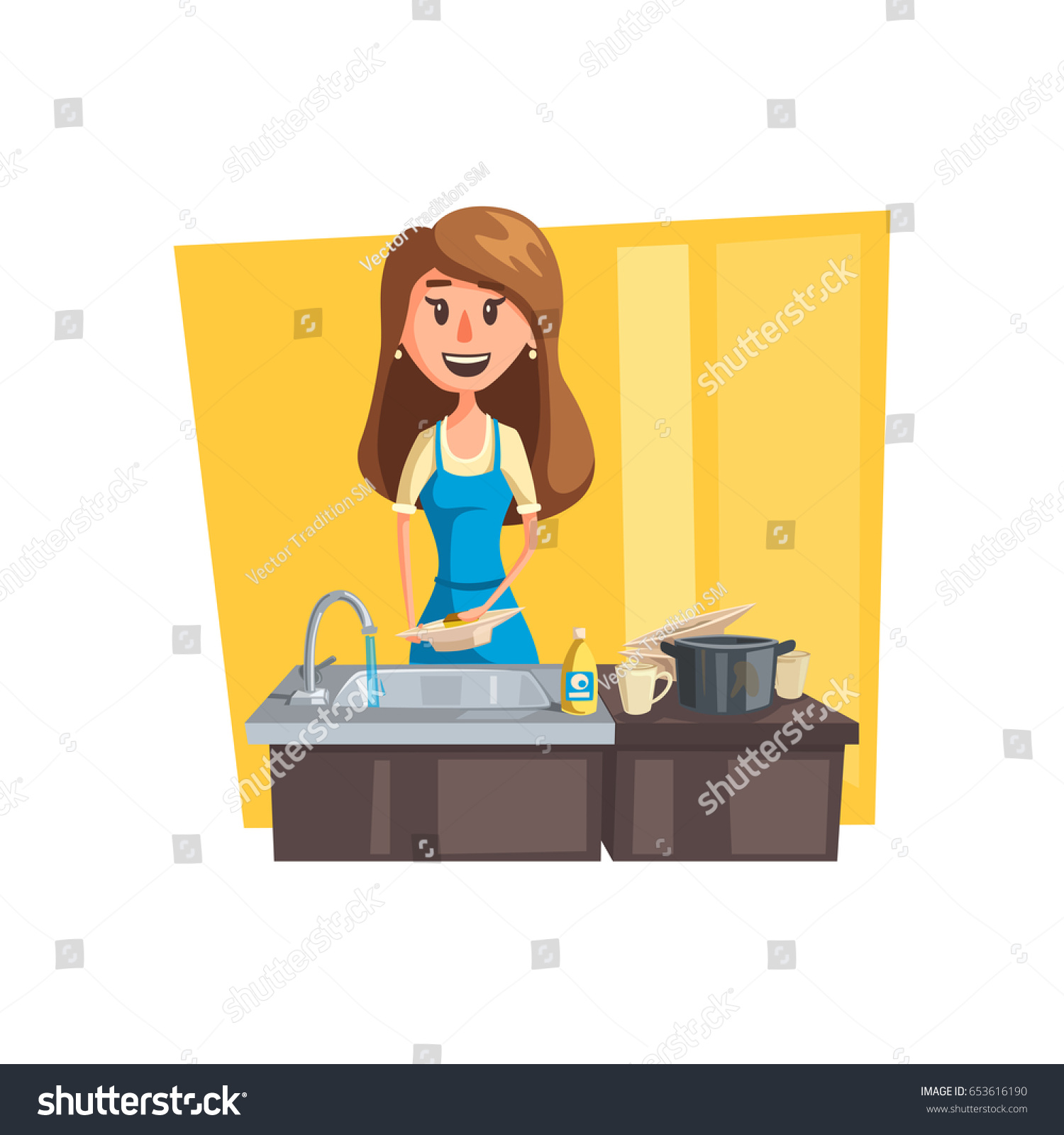 Kitchen Clean Up Cartoon: Washing Dishes Cartoon Icon Woman Housewife Stock Vector