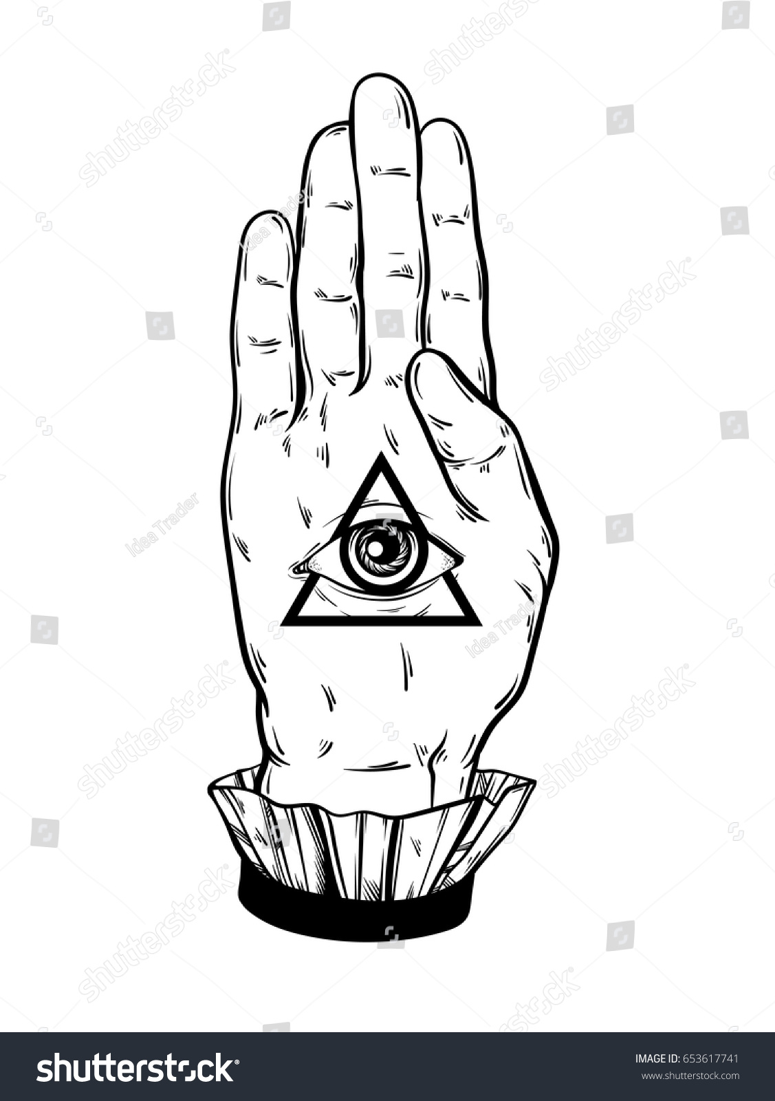 Vector hand drawn illustration hand witch stock vector 653617741 vector hand drawn illustration of hand of witch all seeing eye pyramid symbol tattoo biocorpaavc