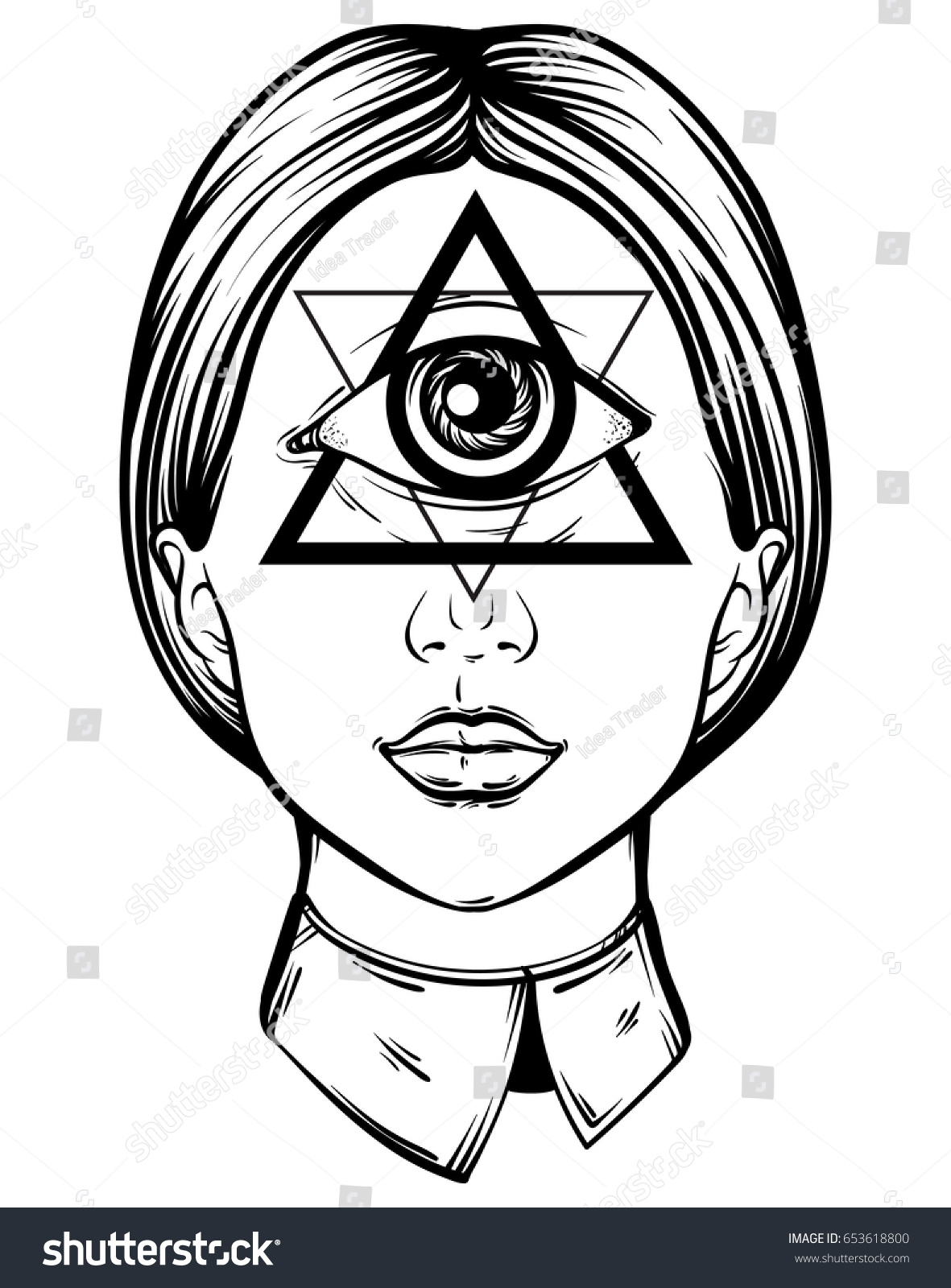 Vector Hand Drawn Illustration Cyclops Tattoo Stock Vector Royalty Free 653618800