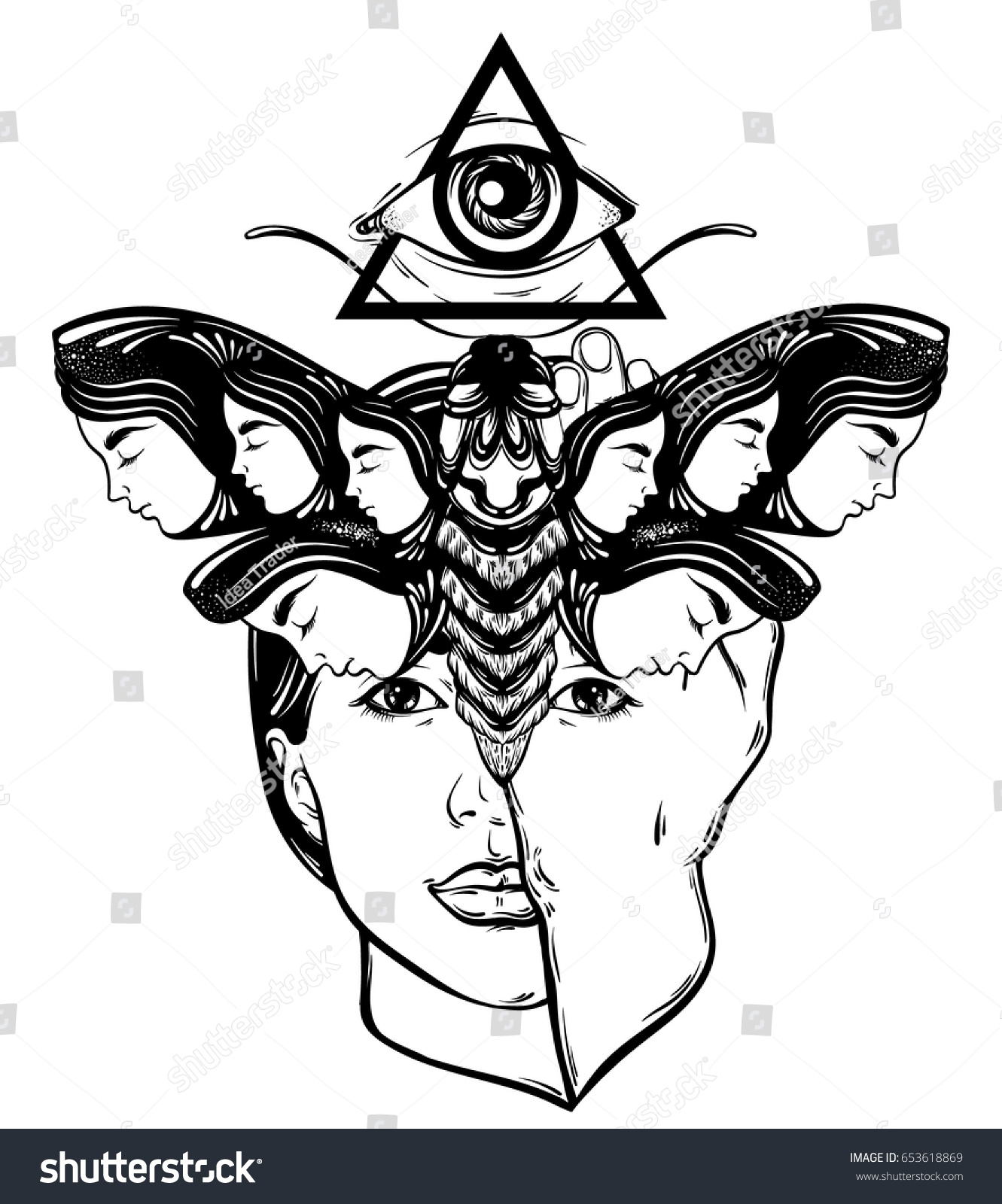 Vector hand drawn illustration moth female stock vector 653618869 vector hand drawn illustration of moth with female faces on the wings and face of pretty biocorpaavc Choice Image