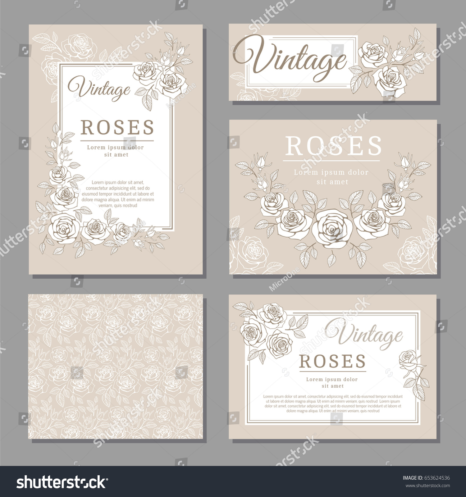 Classic Wedding Vintage Invitation Cards Roses Vector – Vintage Invitation Cards