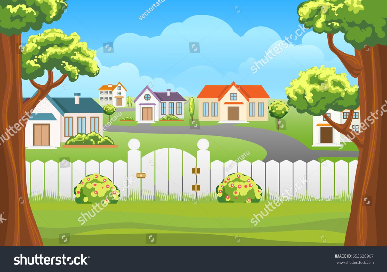 Outdoor Backyard Background Cartoon Vector Illustration ...