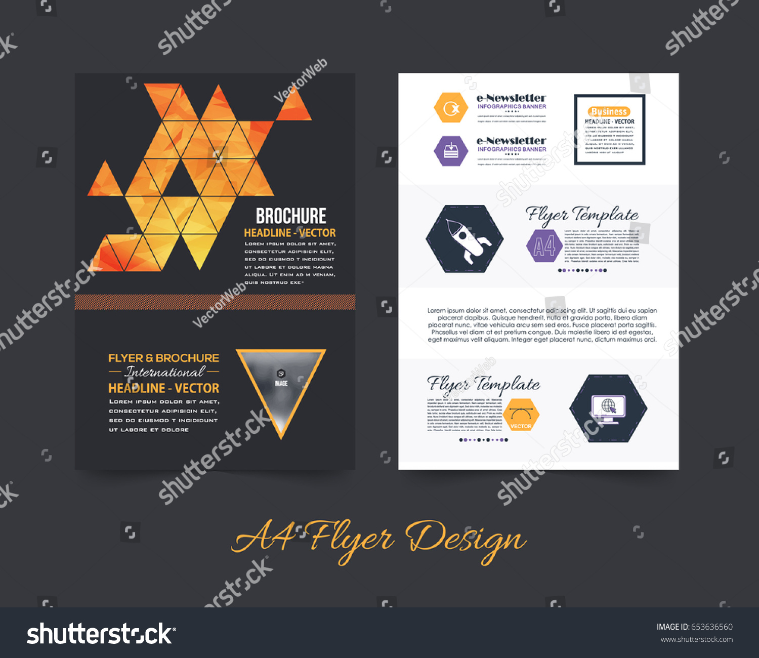 Business pamphlet polygonal booklet template a 4 stock vector business pamphlet or polygonal booklet template a4 document and vector background flyer geometric low accmission Images