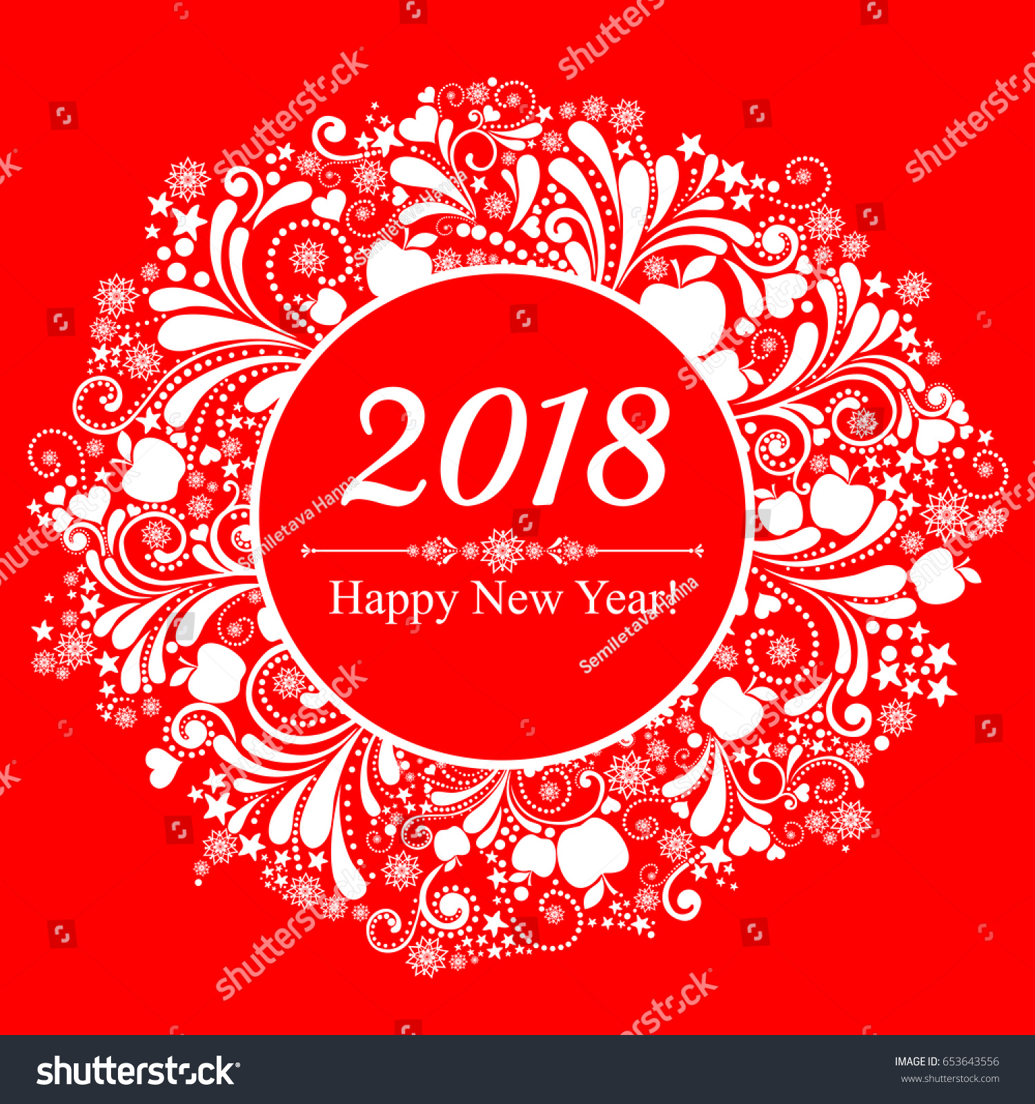 happy new year 2018 celebration red background with christmas wreath and place for your text