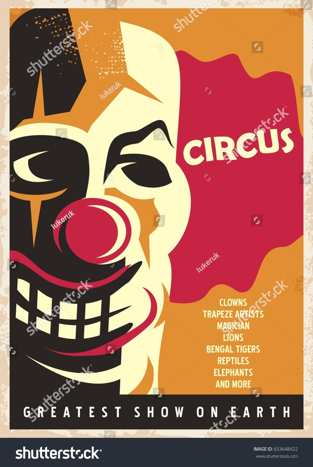 circus poster design template red nose stock vector 653648422