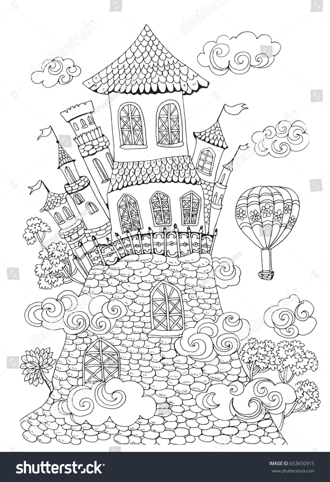 Page Coloring Pages Kids Adults Fairytale Stock Vector 653650915 ...
