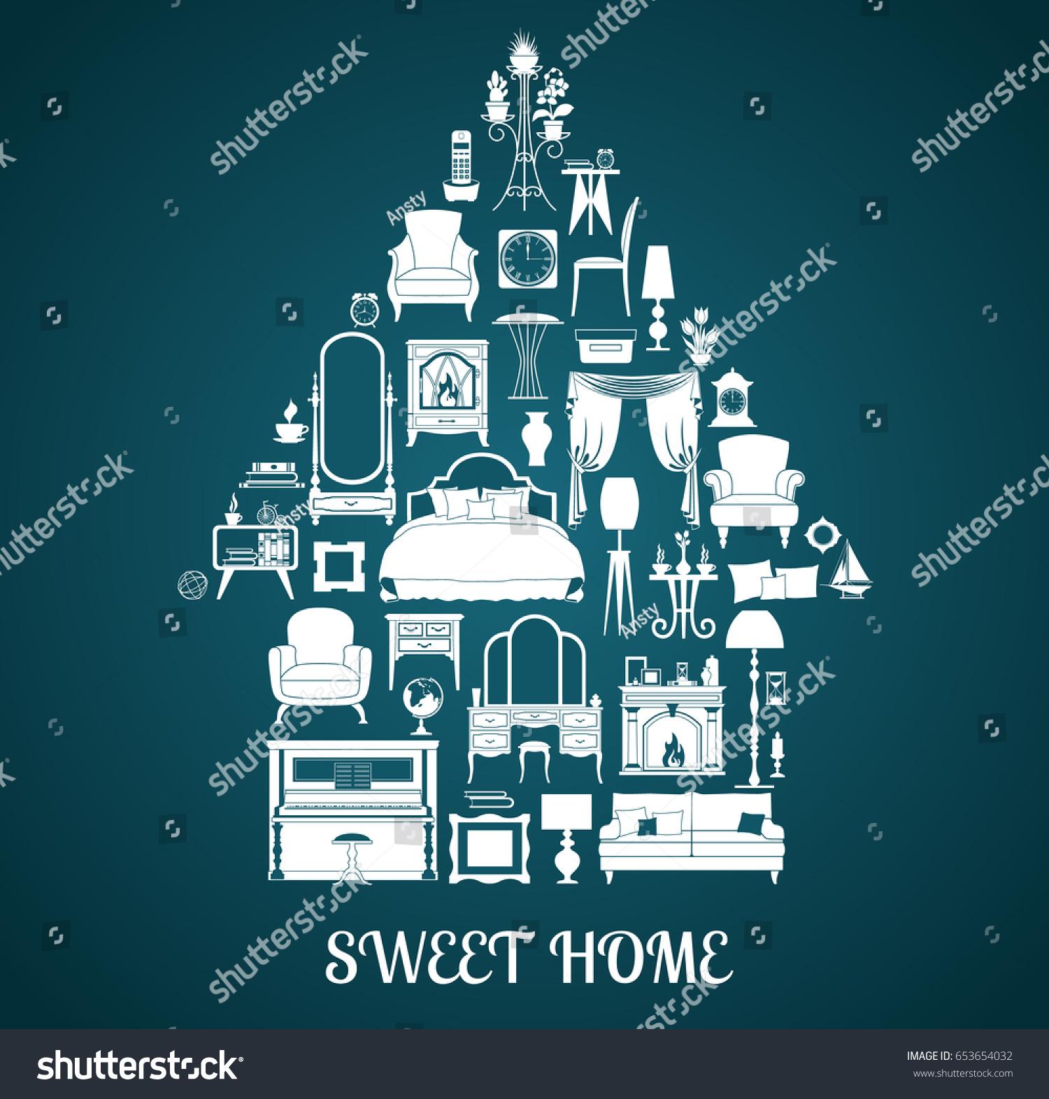 Silhouettes Furniture Interior Items Home Decor Stock Vector ...
