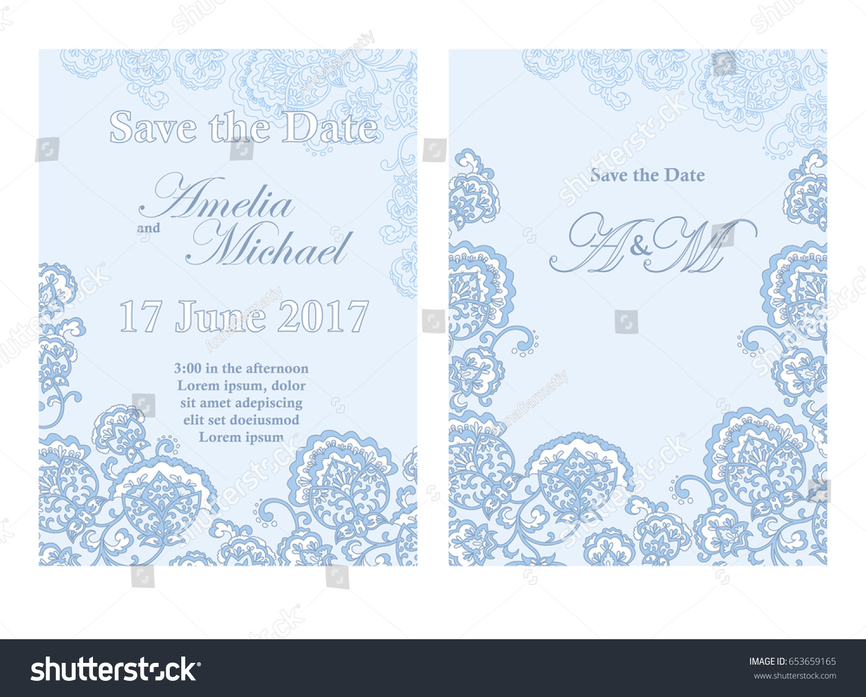 Save Date Card Template Light Blue Stock Vector 653659165 - Shutterstock