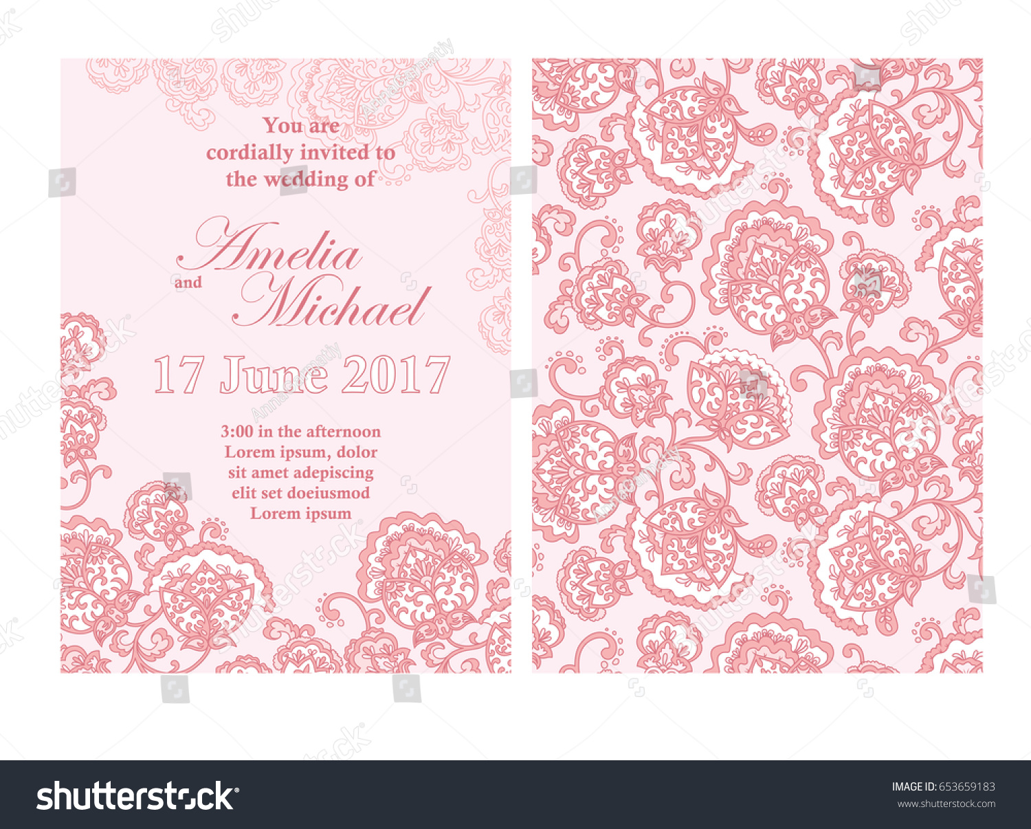 Elegant wedding invitation card template pink stock vector 653659183 elegant wedding invitation card template in pink colors flyer decorated with ornamental flower greeting stopboris Gallery