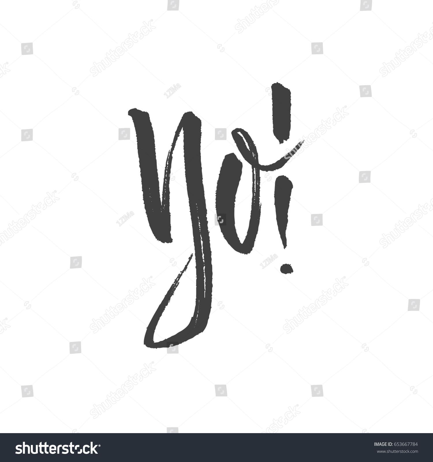 Yo Slang Lettering Greeting Words Hand Stock Vector Royalty Free