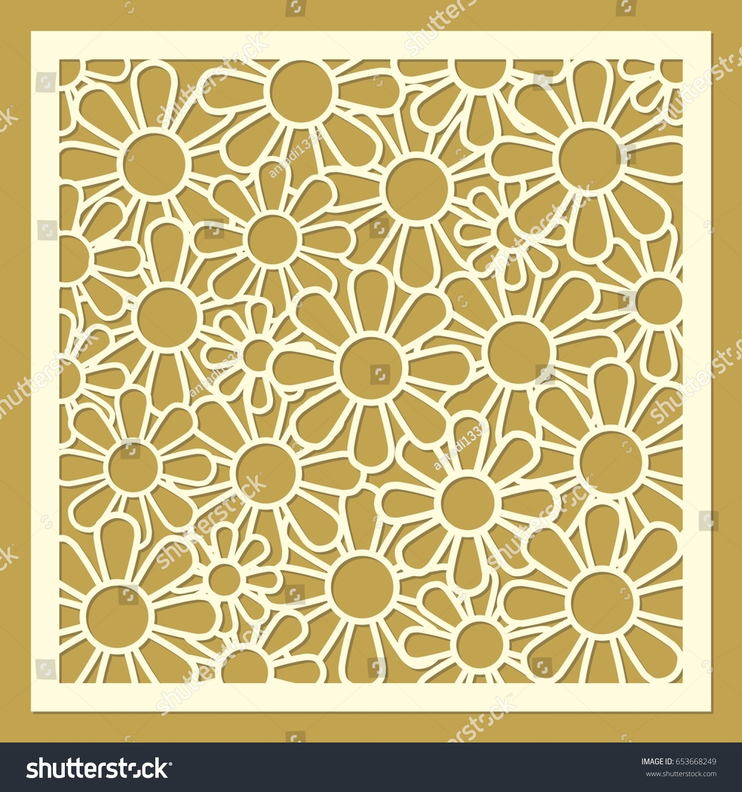 Daisy Flower Ornament Laser Cut Template Stock Vector Royalty Free