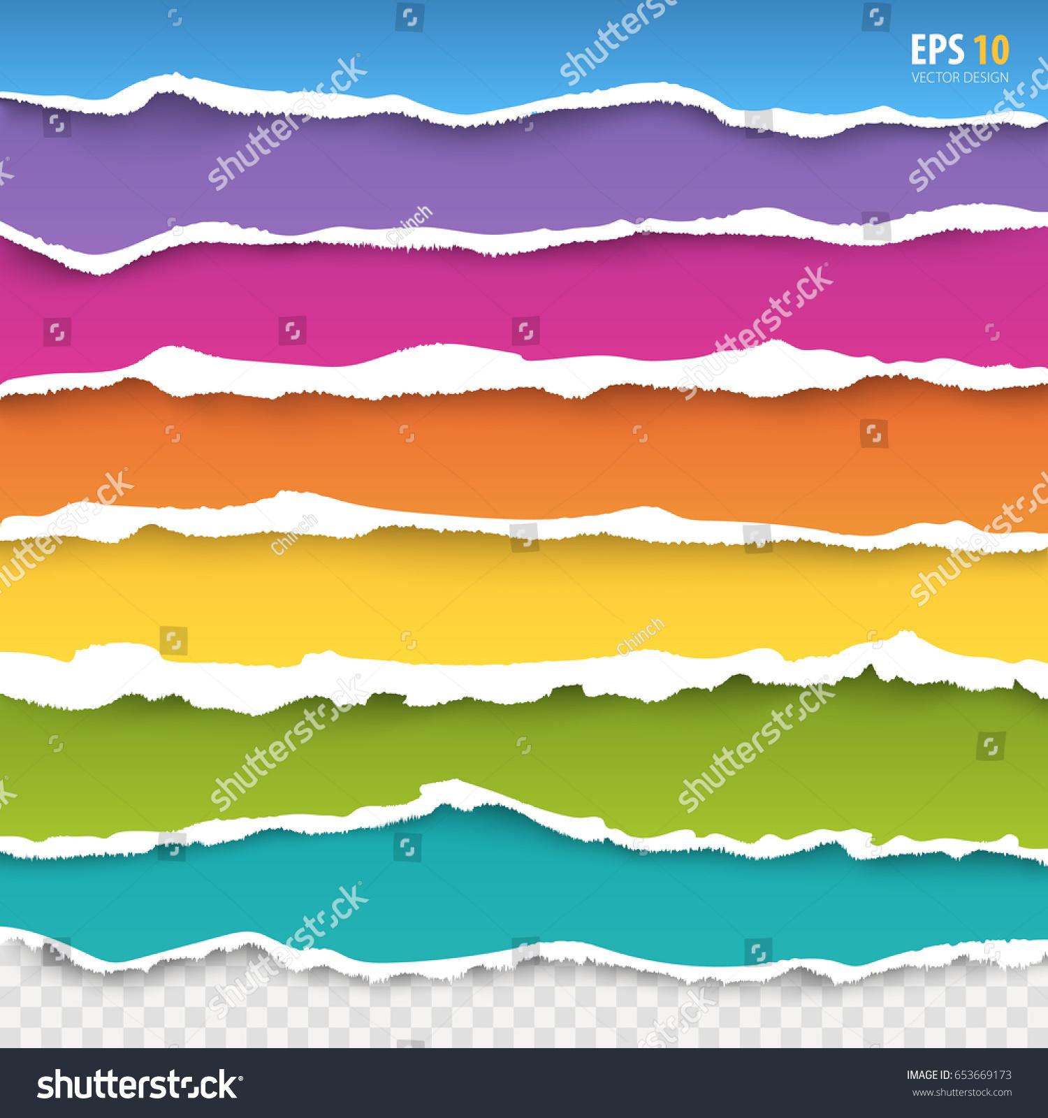 torn paper edges vector blue pink stock vector 653669173