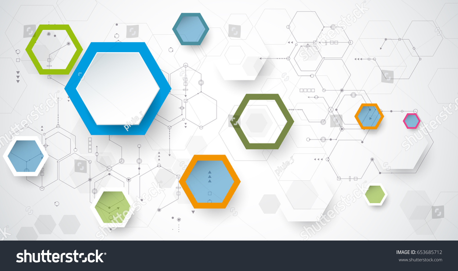Vector Illustration Circuit Board 3 D Paper Stock Royalty And 3d Hexagons Background Hi Tech Digital Technology