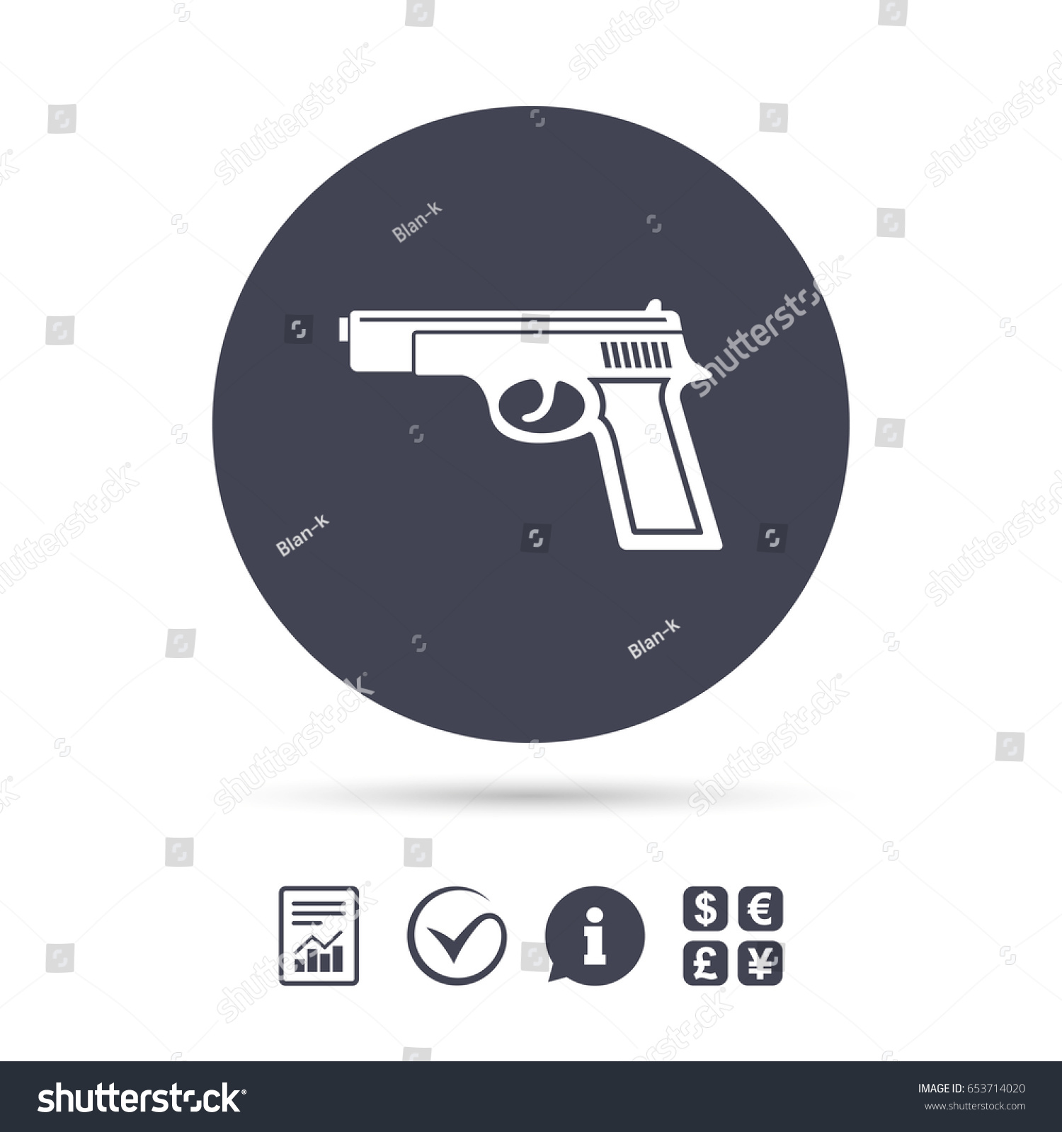 Gun sign icon firearms weapon symbol stock vector 653714020 gun sign icon firearms weapon symbol report document information and check tick icons biocorpaavc