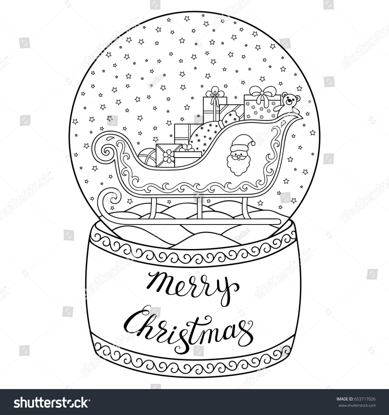 glass snow globe santa sleigh stock vector 653717026