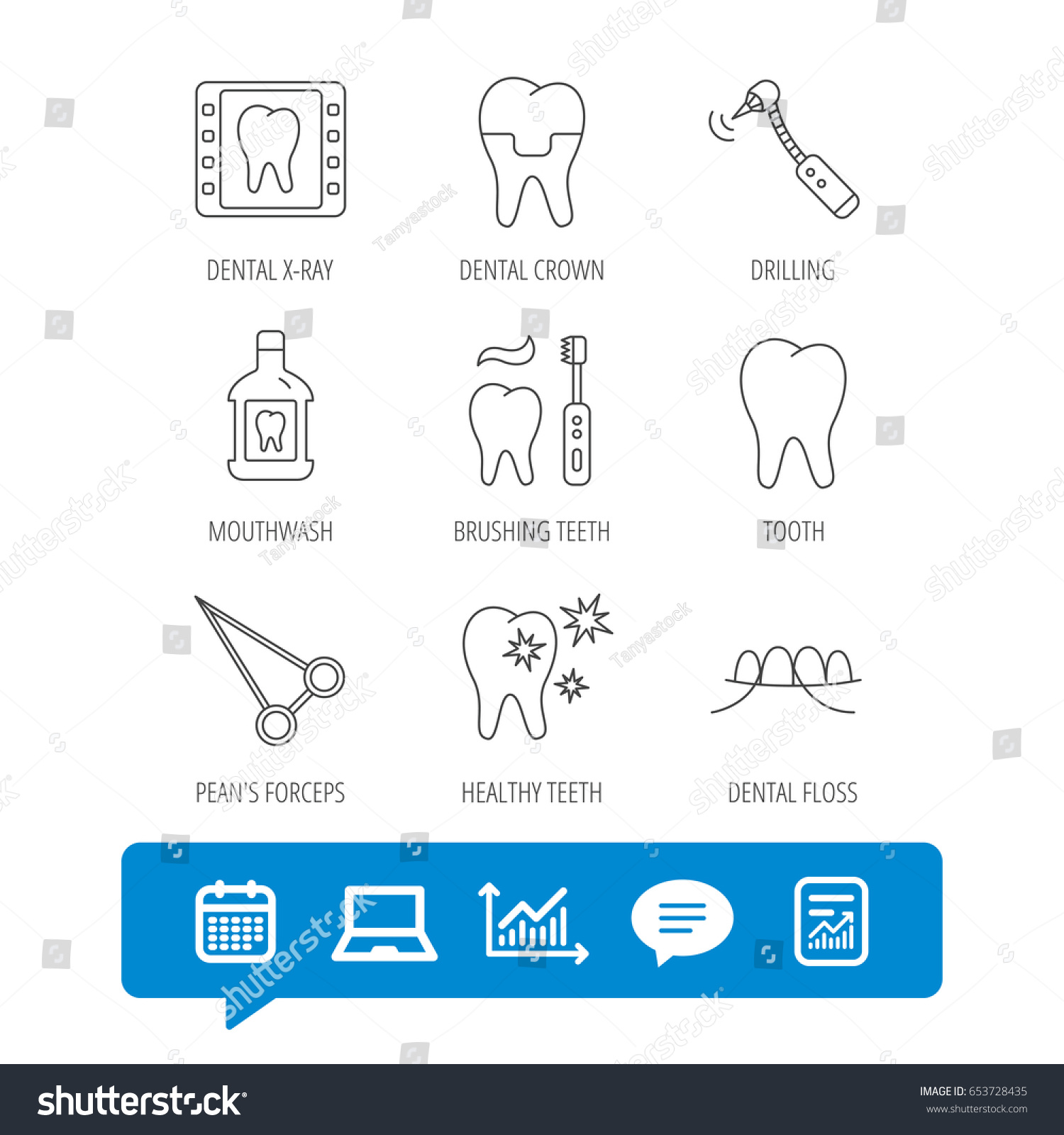 Stomatology tooth dental crown icons xray stock vector 653728435 stomatology tooth and dental crown icons x ray mouthwash and dental floss biocorpaavc Gallery