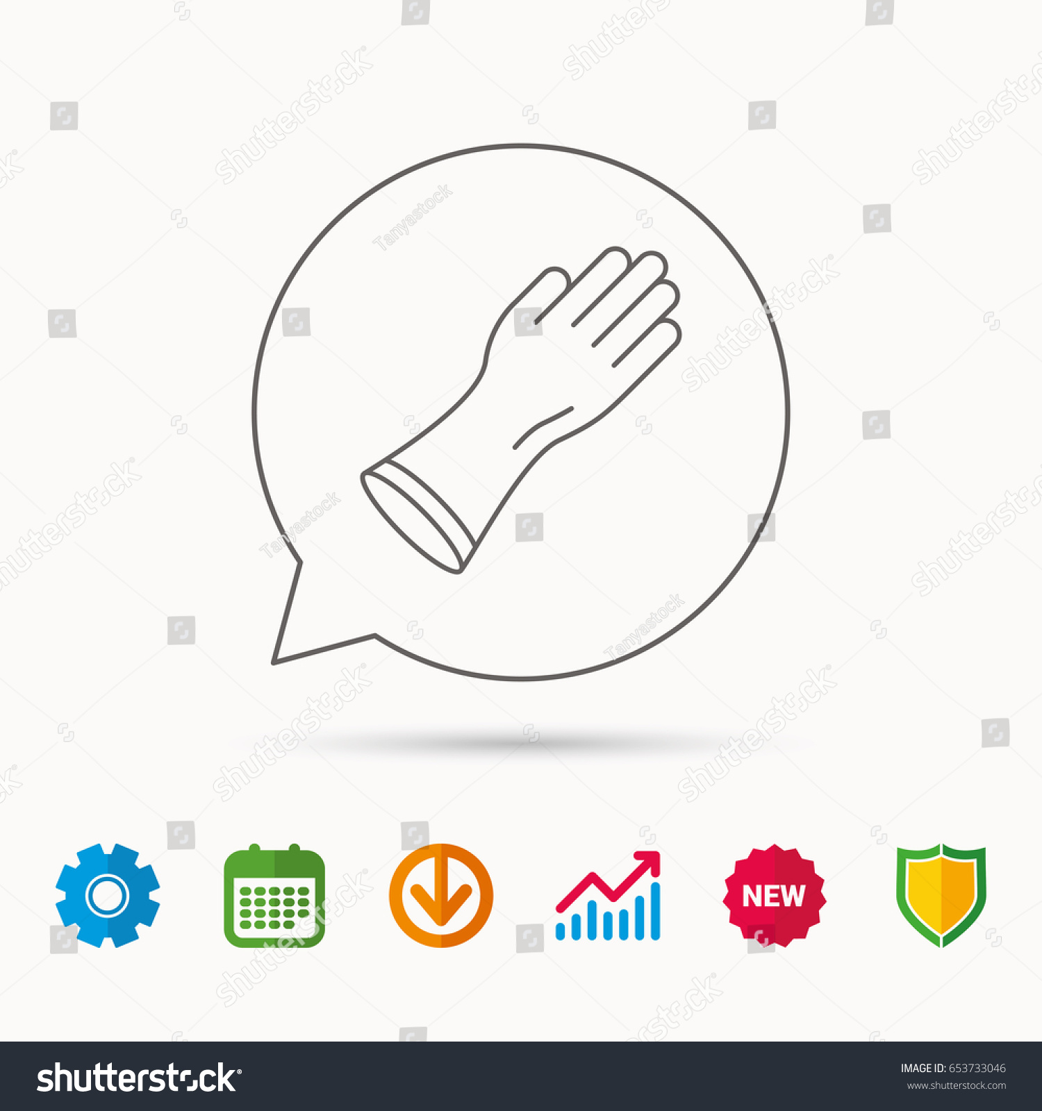 Rubber gloves icon latex hand protection stock vector 653733046 latex hand protection sign housework cleaning equipment symbol calendar biocorpaavc