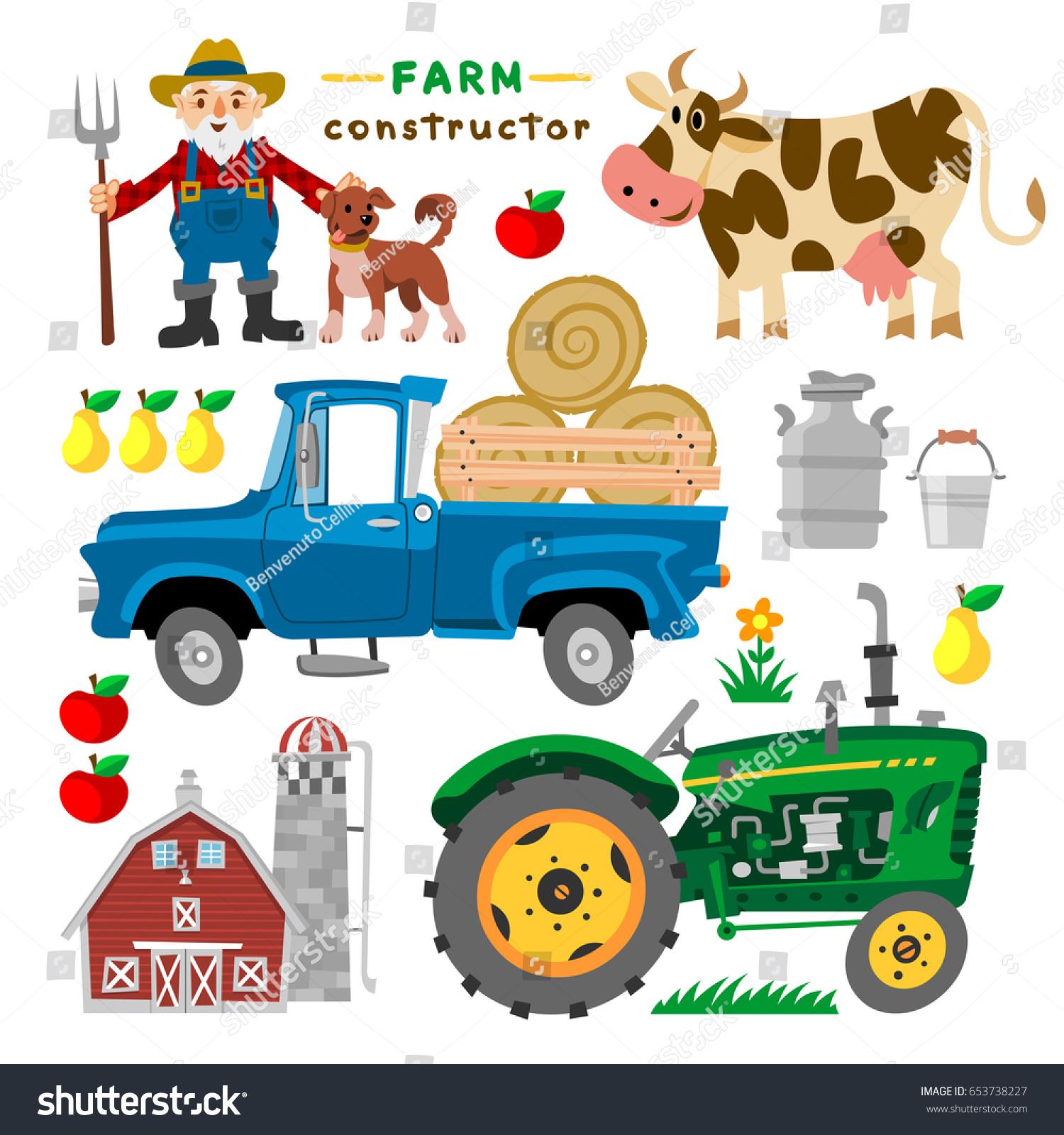 Tractor Cartoon Picker : Set cartoon farm elements barn tractor stock vector