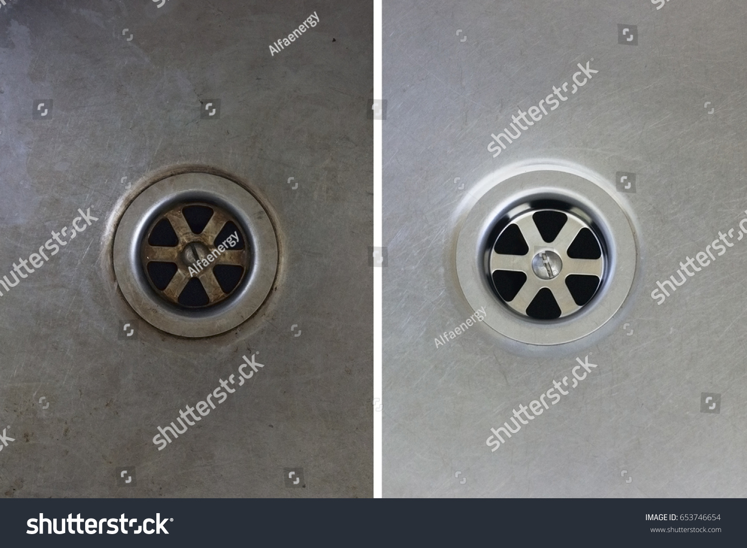 Dirty clean kitchen sink hole close stock photo 653746654 shutterstock workwithnaturefo