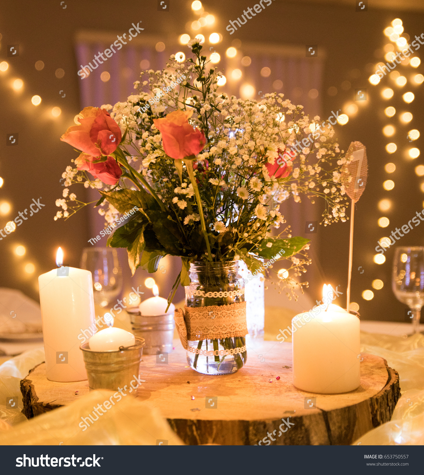 Evening Natural Wedding Decor Roses Flowers Stock Photo Edit Now